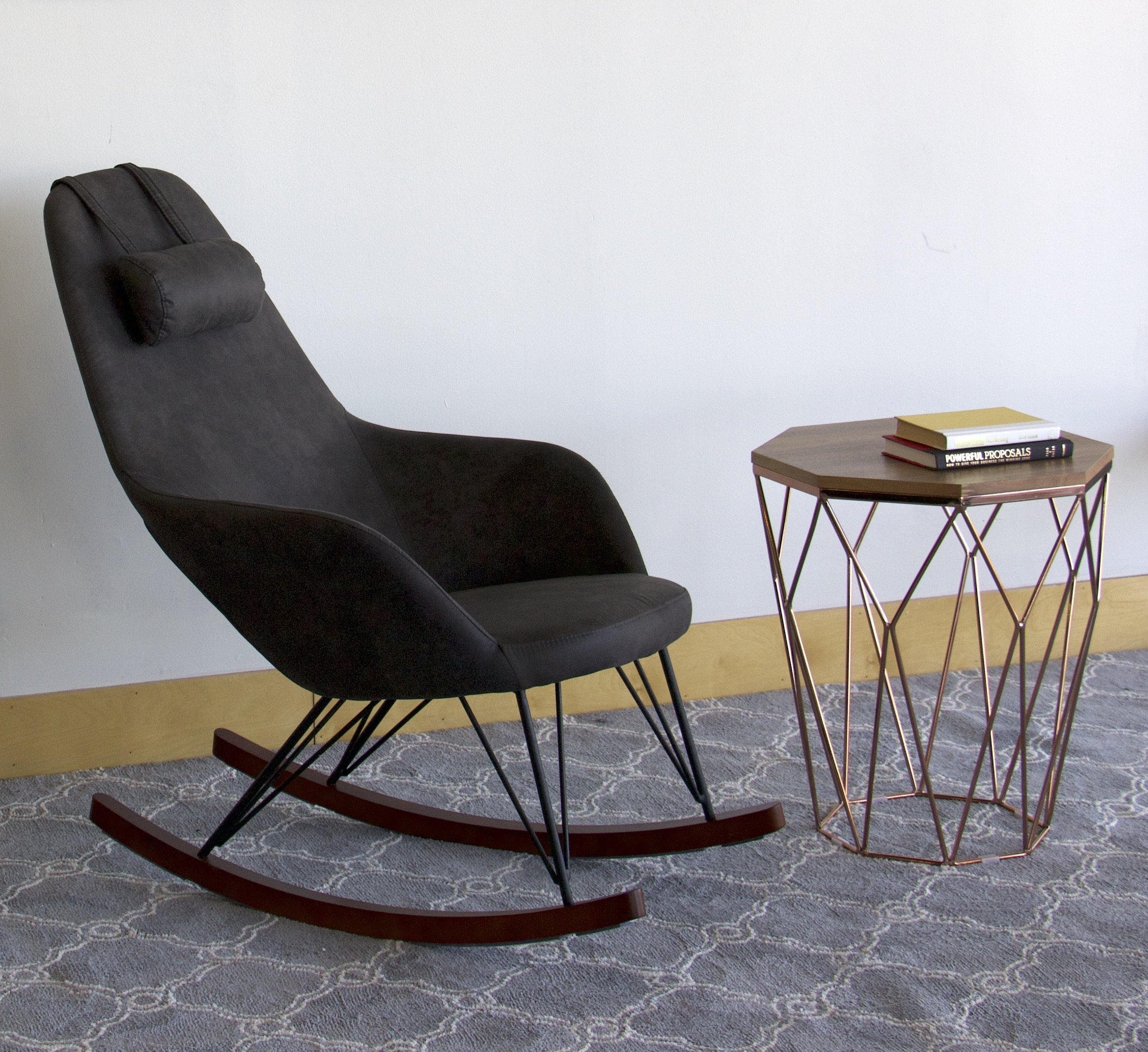 Mack & Milo Mellinger Rocking Chair Regarding Rocking Chairs In Linen Fabric With Medium Espresso Base (View 18 of 20)