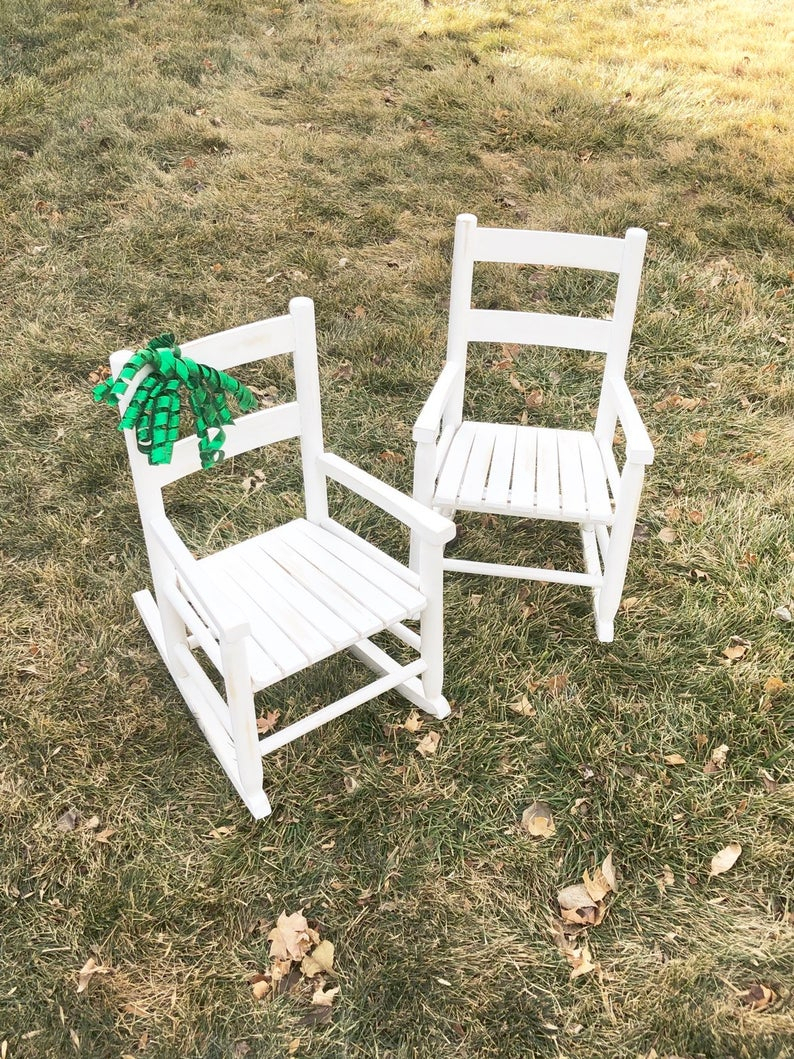 Inspiration about Made To Order Distressed Rocking Chair Solid Wood Childs White Rocking  Chair Newly Distressed Baby Rocking Chair Nursery Toddler Decor Ant Intended For Tobacco Brown Kids Rocking Chairs (#16 of 20)