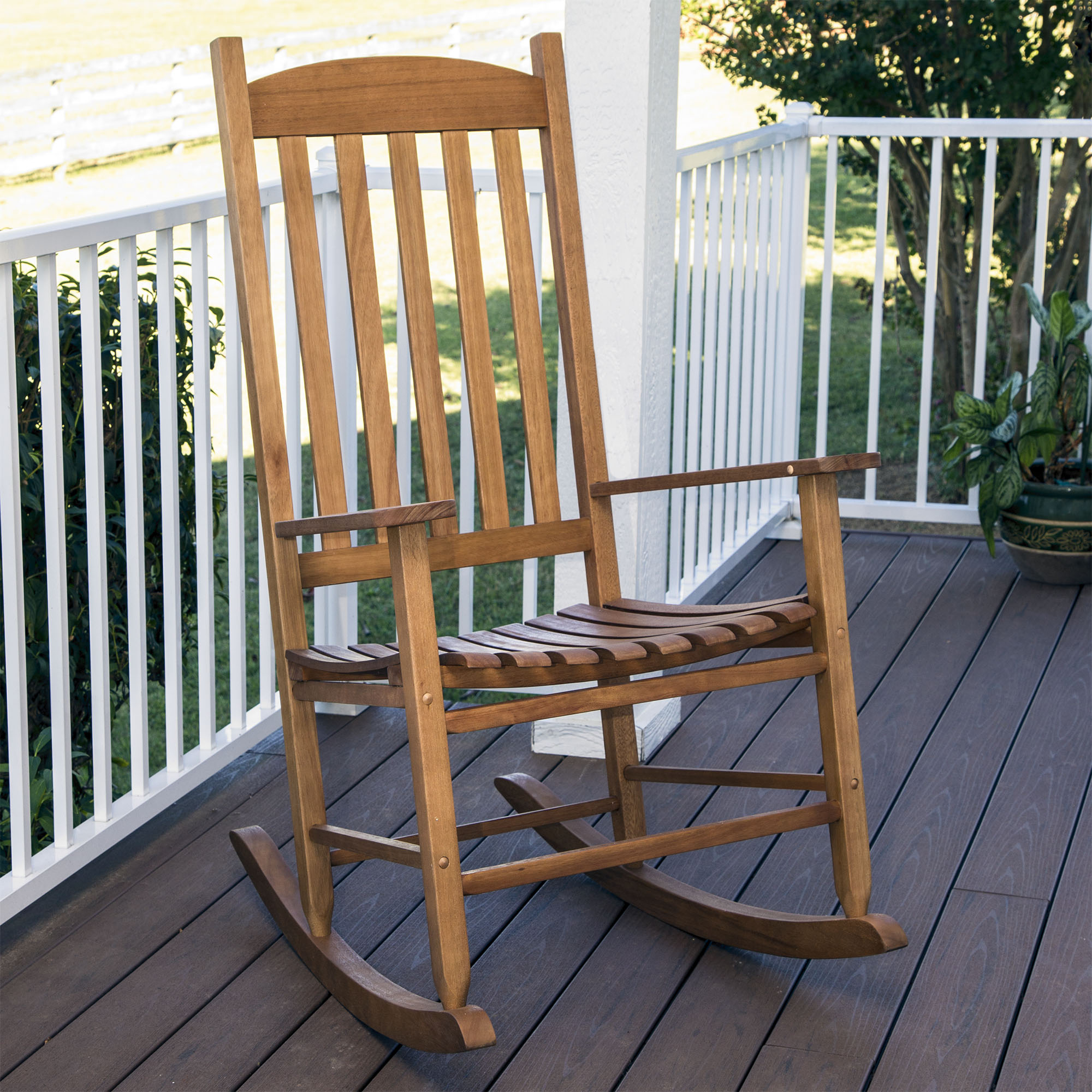 Mainstays Outdoor Wood Slat Rocking Chair Pertaining To Indoor / Outdoor Porch Slat Rocking Chairs (#13 of 20)