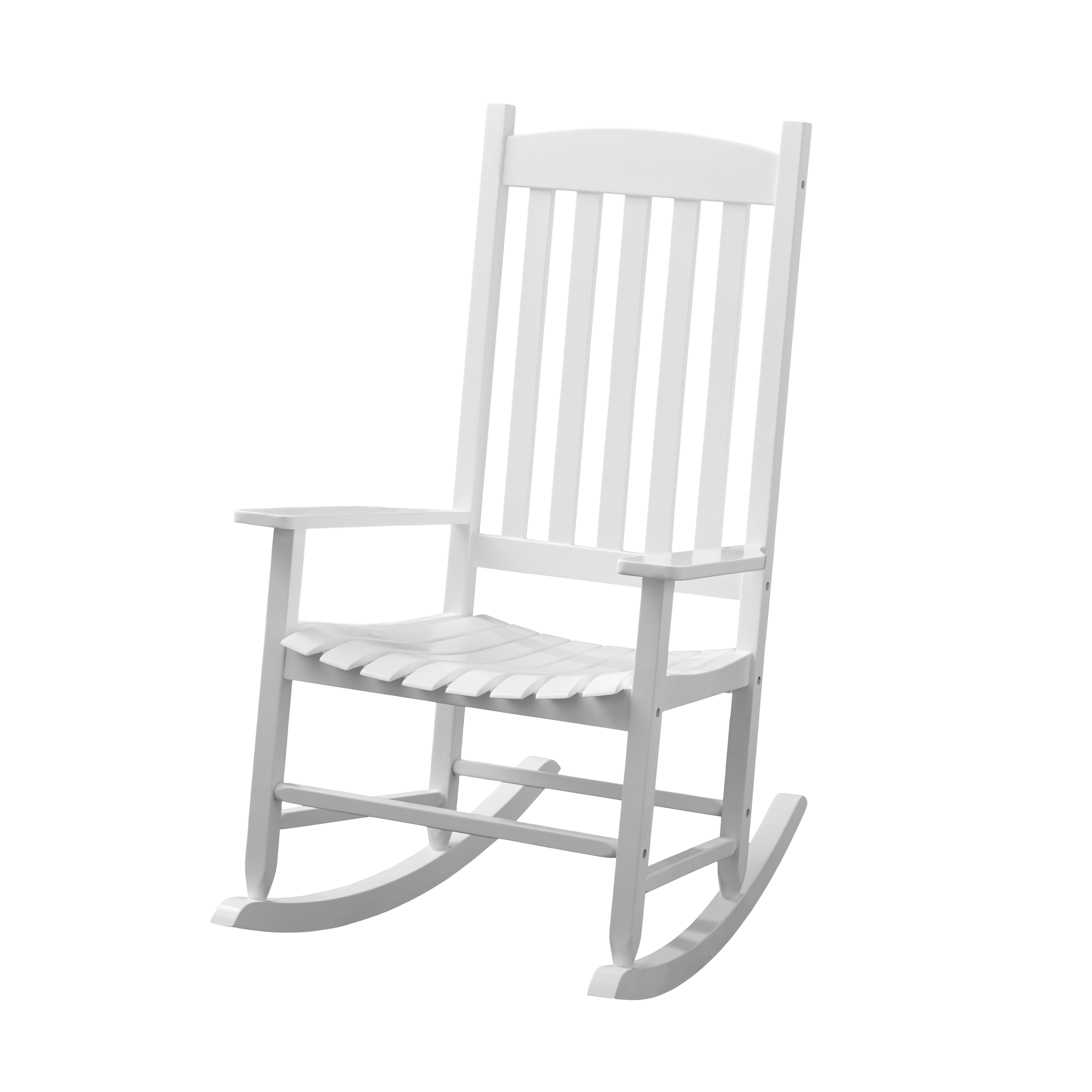 Inspiration about Mainstays White Solid Wood Slat Outdoor Rocking Chair Inside White Wood Rocking Chairs (#2 of 20)