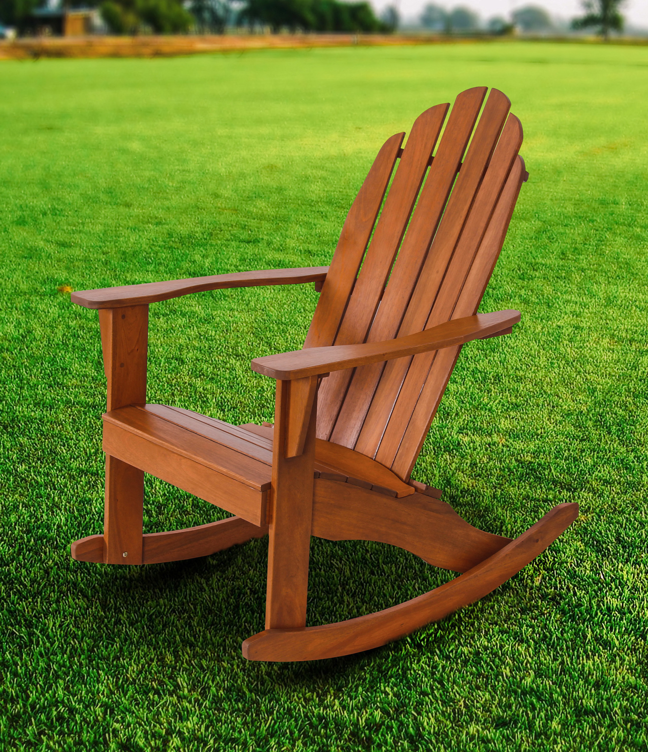 Mainstays Wood Adirondack Rocking Chair, Natural For Traditional Style Wooden Rocking Chairs With Contoured Seat, Black (#14 of 20)