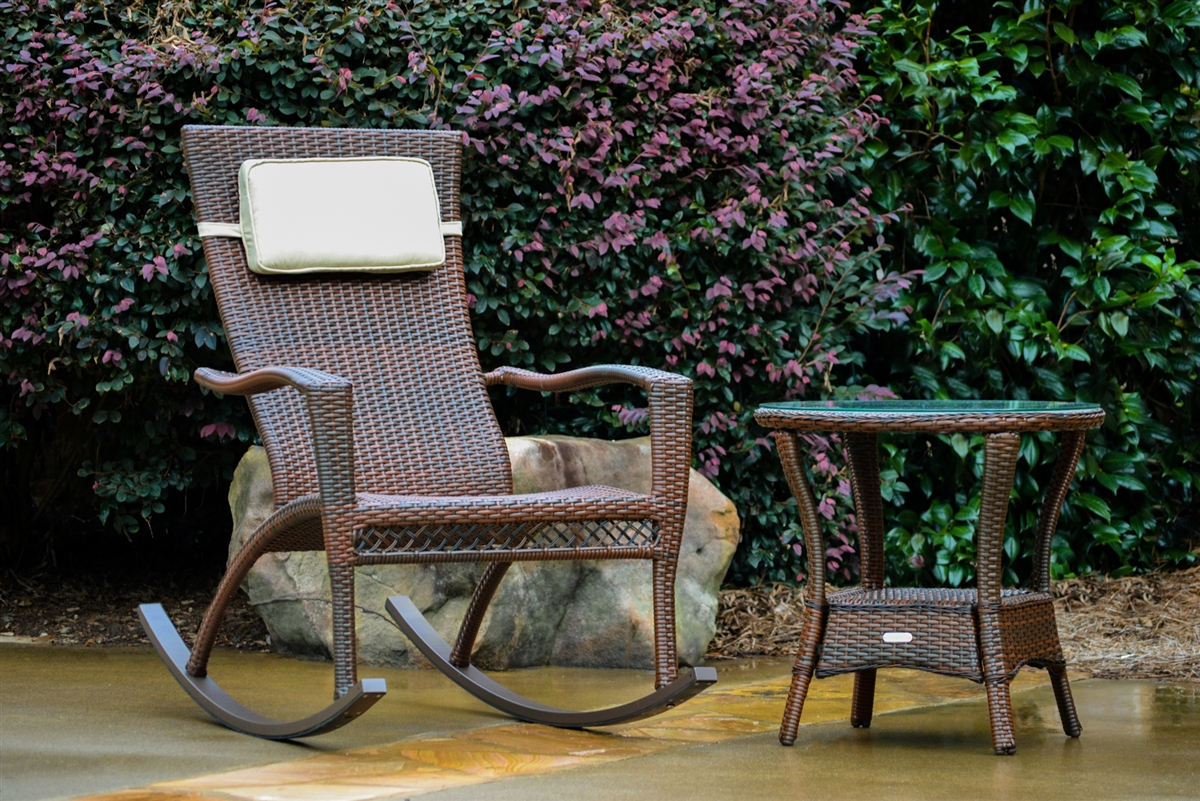 Maracay Rocking Chair And Side Table – Java Wicker Throughout Poly And Bark Rocking Chairs Lounge Chairs (#6 of 20)