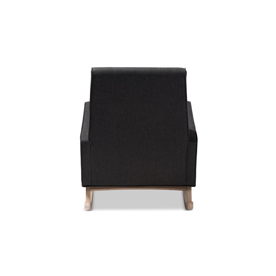 Inspiration about Marlena Mid Century Modern Dark Grey Fabric Upholstered Whitewash Wood  Rocking Chairbaxton Studio In Black Rubberwood Rocking Chairs (#19 of 20)