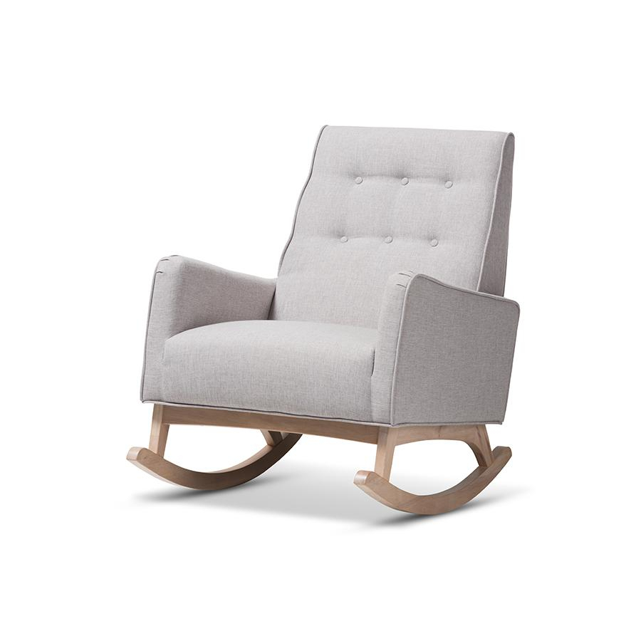 Inspiration about Marlena Mid Century Modern Greyish Beige Fabric Upholstered Whitewash Wood Rocking Chairbaxton Studio In Mid Century Modern Fabric Rocking Chairs (#5 of 20)