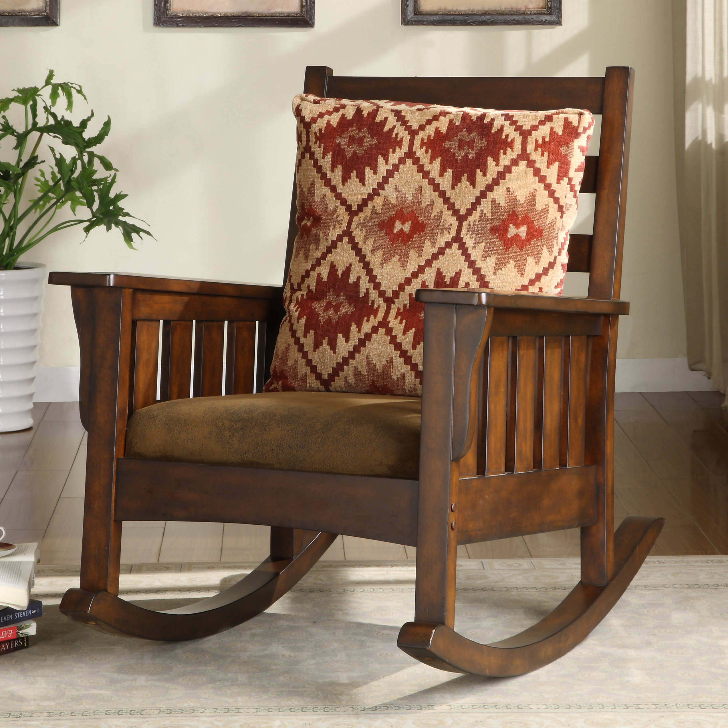 Maxie Rocking Chair For Dark Oak Wooden Padded Faux Leather Rocking Chairs (#14 of 20)