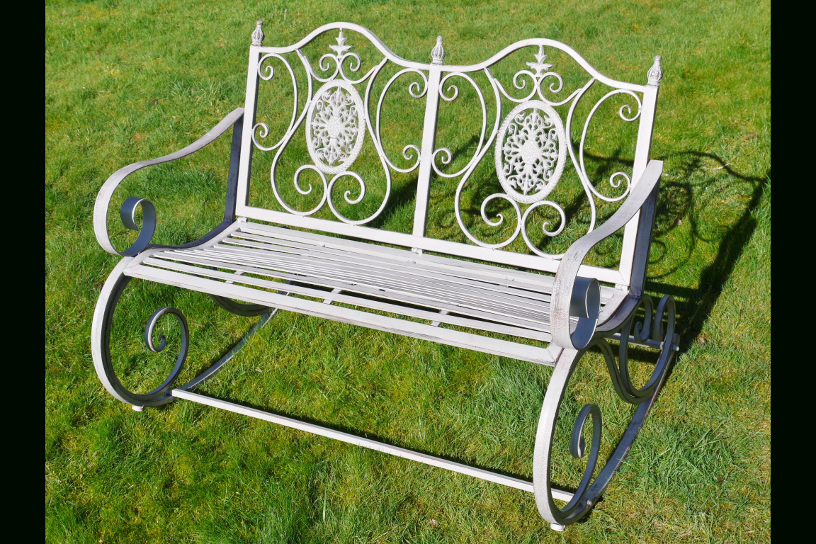Inspiration about Metal Garden Rocking Bench Antique Grey Pertaining To Aria Antique Grey Rocking Chairs (#18 of 20)