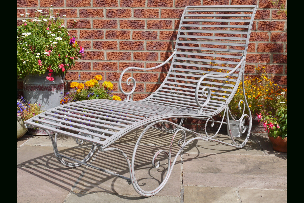 Inspiration about Metal Garden Sun Lounger Antique Grey Pertaining To Aria Antique Grey Rocking Chairs (#16 of 20)