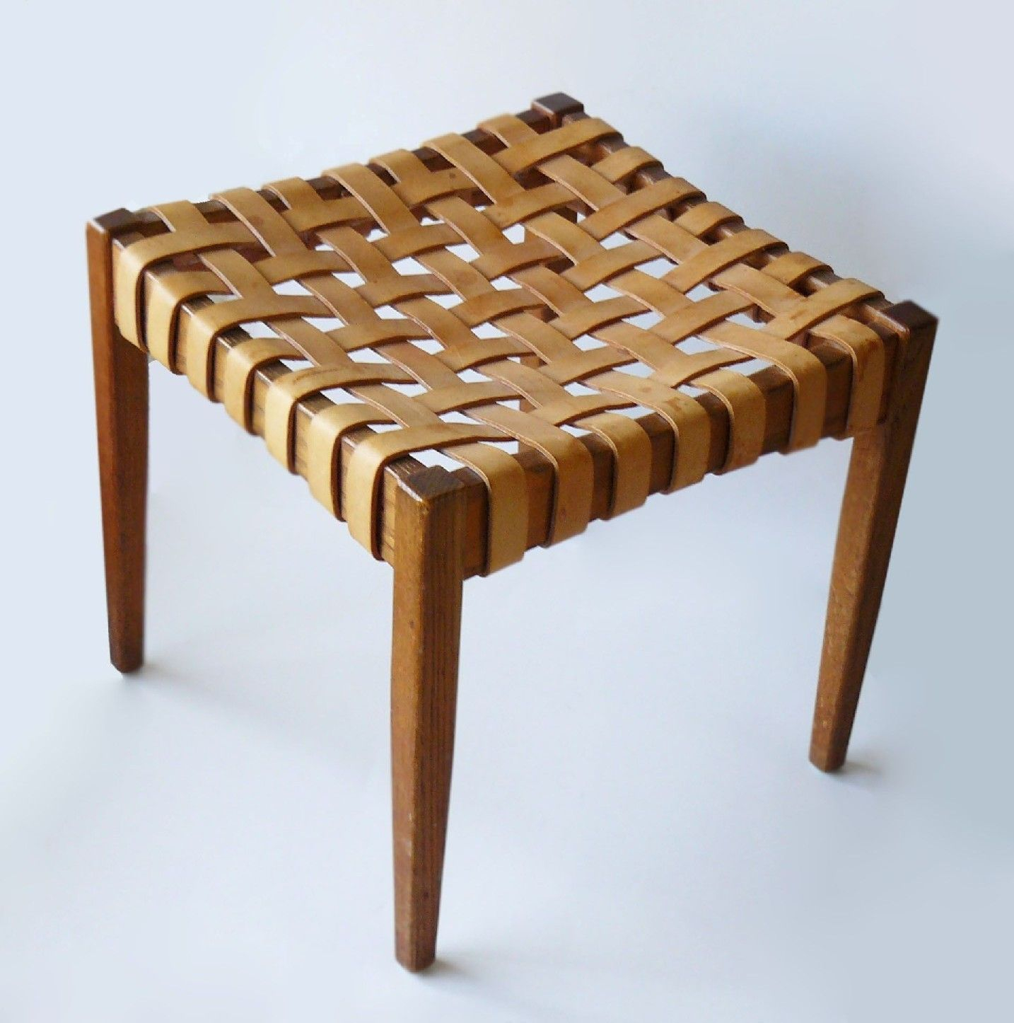 Inspiration about Mid Century 1950's Danish Woven Leather & Wood Stool Tapered Regarding Judson Traditional Rocking Chairs (#18 of 20)