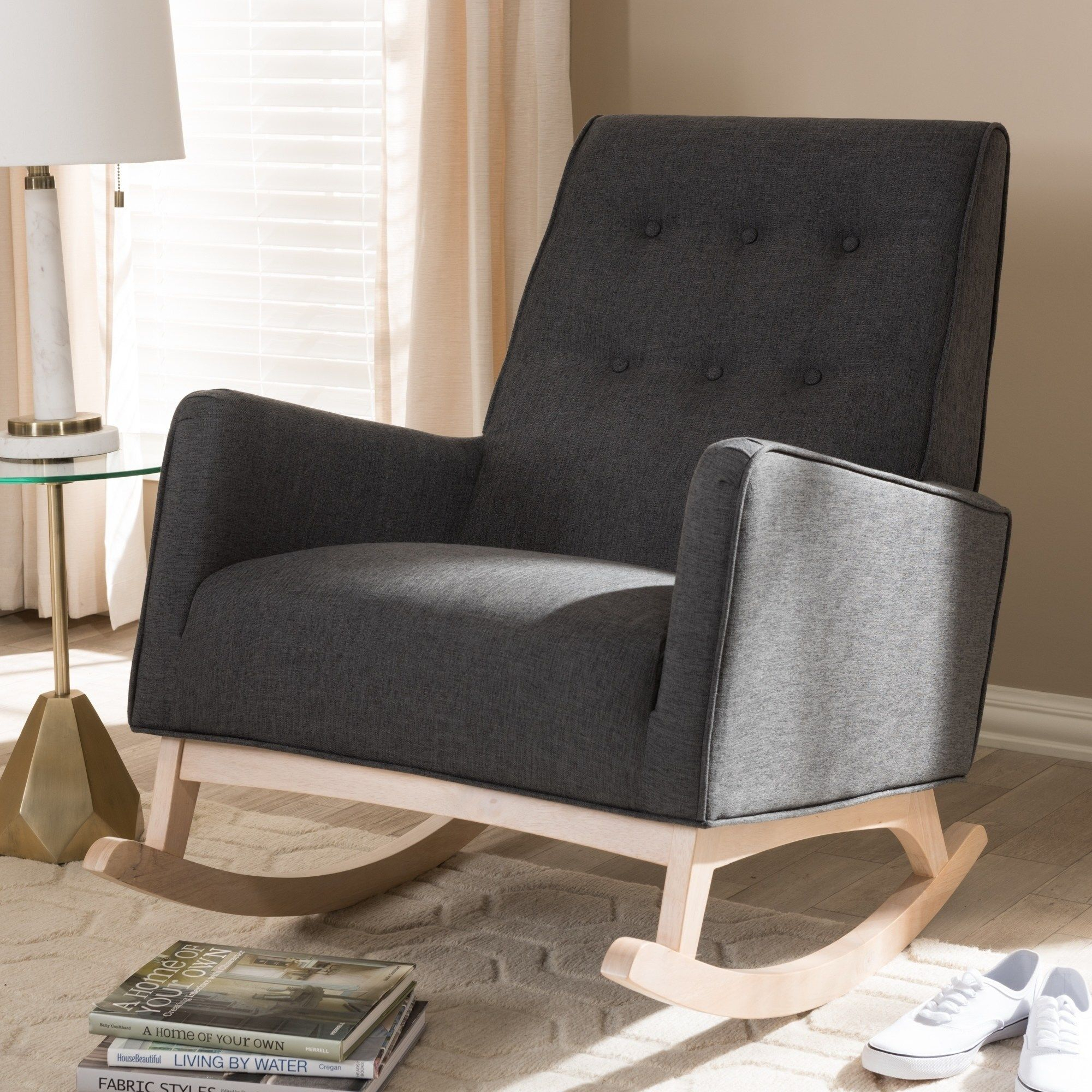 Inspiration about Mid Century Fabric Rocking Chairbaxton Studio (Beige Intended For Mid Century Modern Fabric Rocking Chairs (#20 of 20)