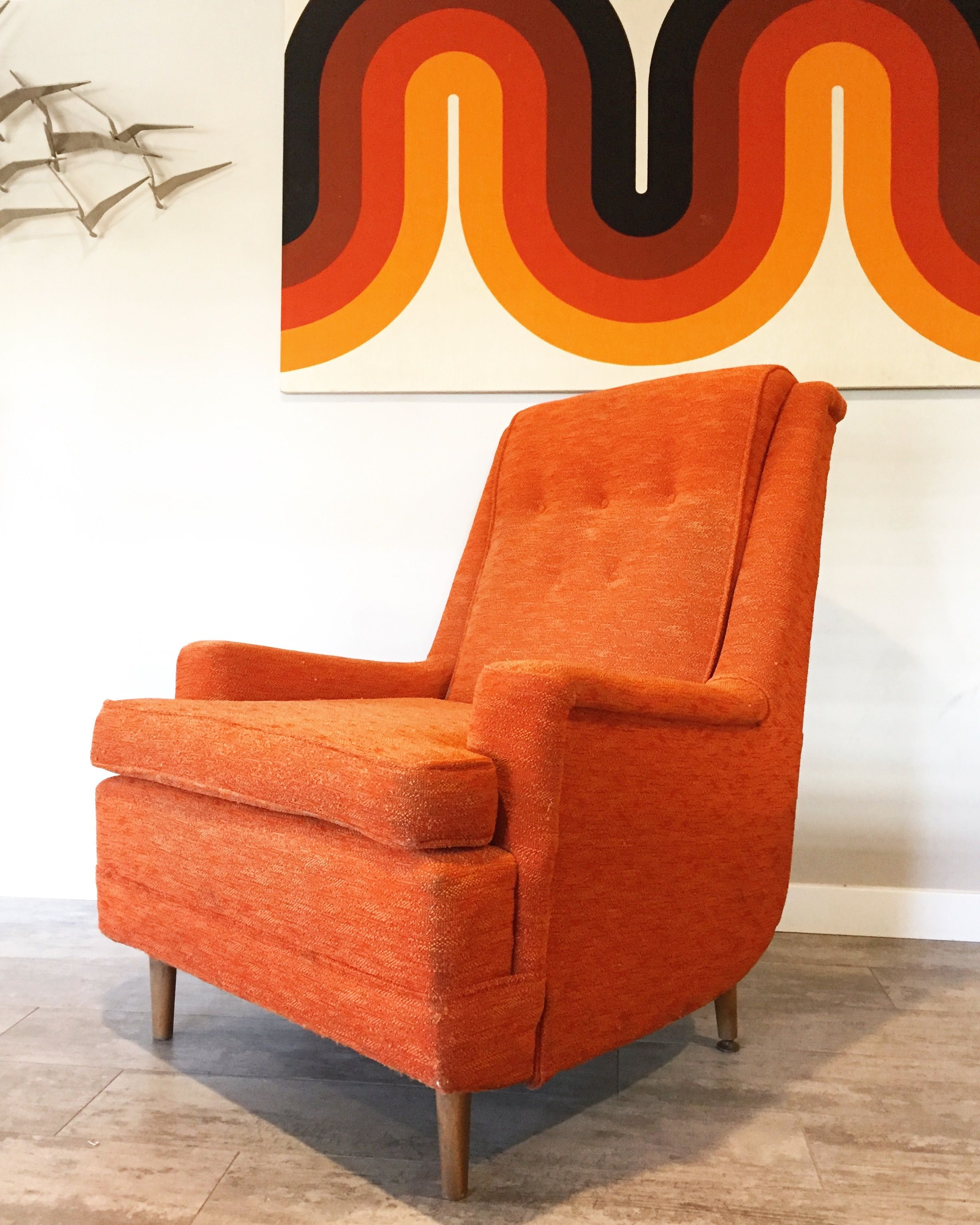 Inspiration about Mid Century Modern Orange Highback Lounge Chair | Revive Inside Orange Rocking Chairs Lounge Chairs (#2 of 20)