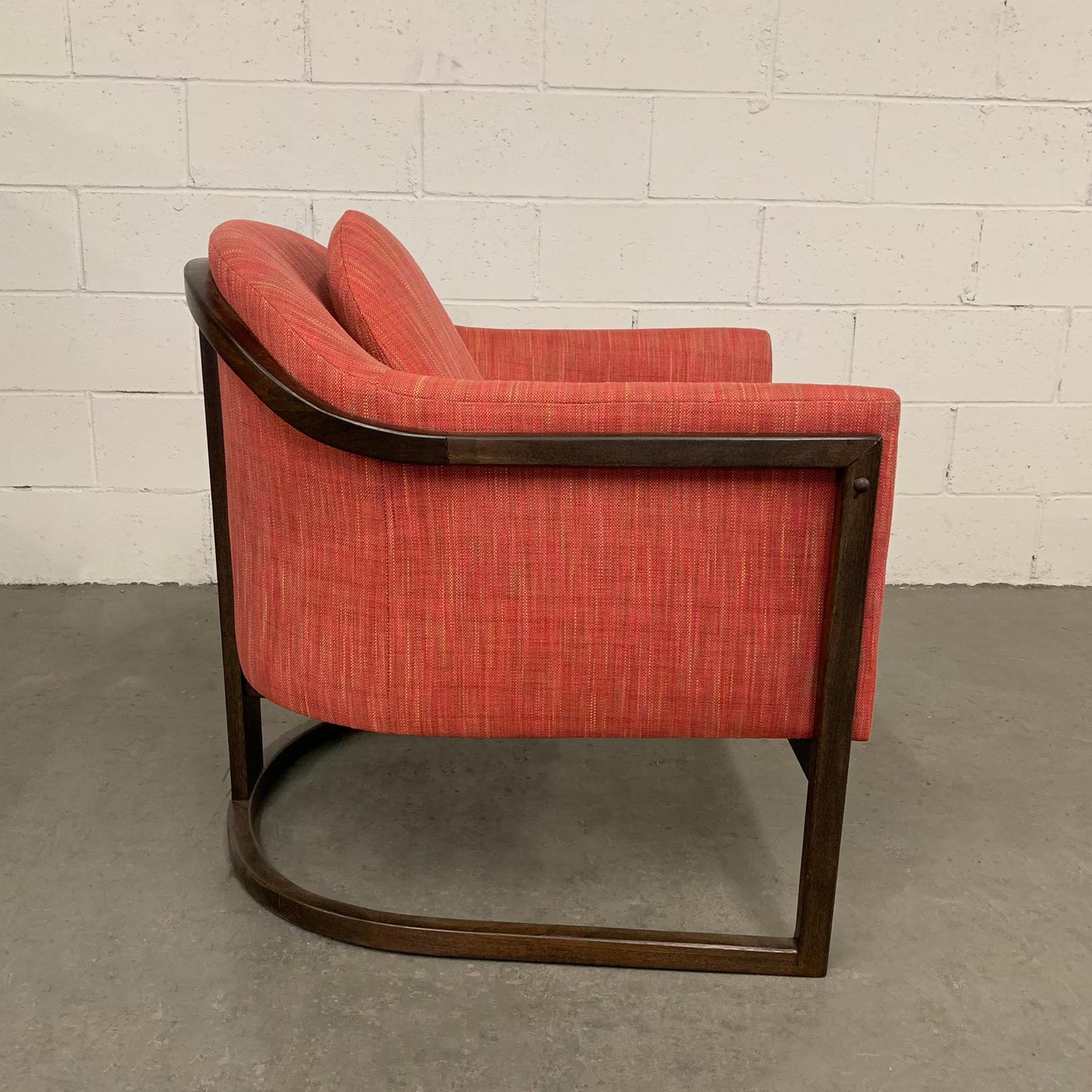 Inspiration about Mid Century Modern Upholstered Barrel Club Chair Attributed To Harvey Probber With Harvey Mid Century Modern Fabric Rocking Chairs (#20 of 20)