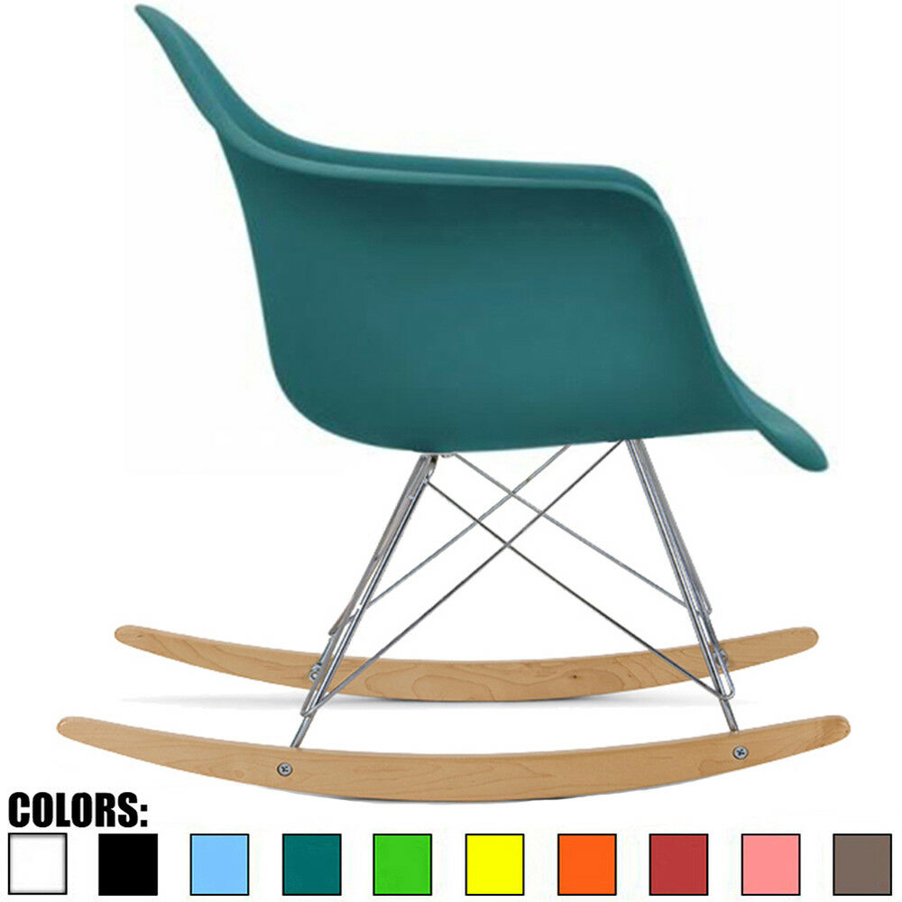 Mid Century Modern Vintage Molded Shell Plastic Rocking Arm Chair Wood Legs With Regard To Plastic Arm Chairs With Rocking Legs (View 2 of 20)