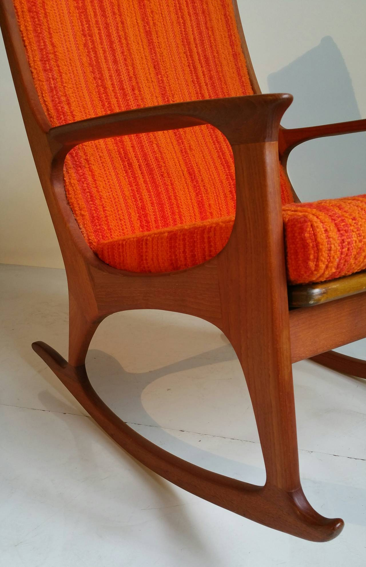 Midcentury Danish Modern Teak Rocking Chair Within Mid Century Fabric Rocking Chairs (#15 of 20)