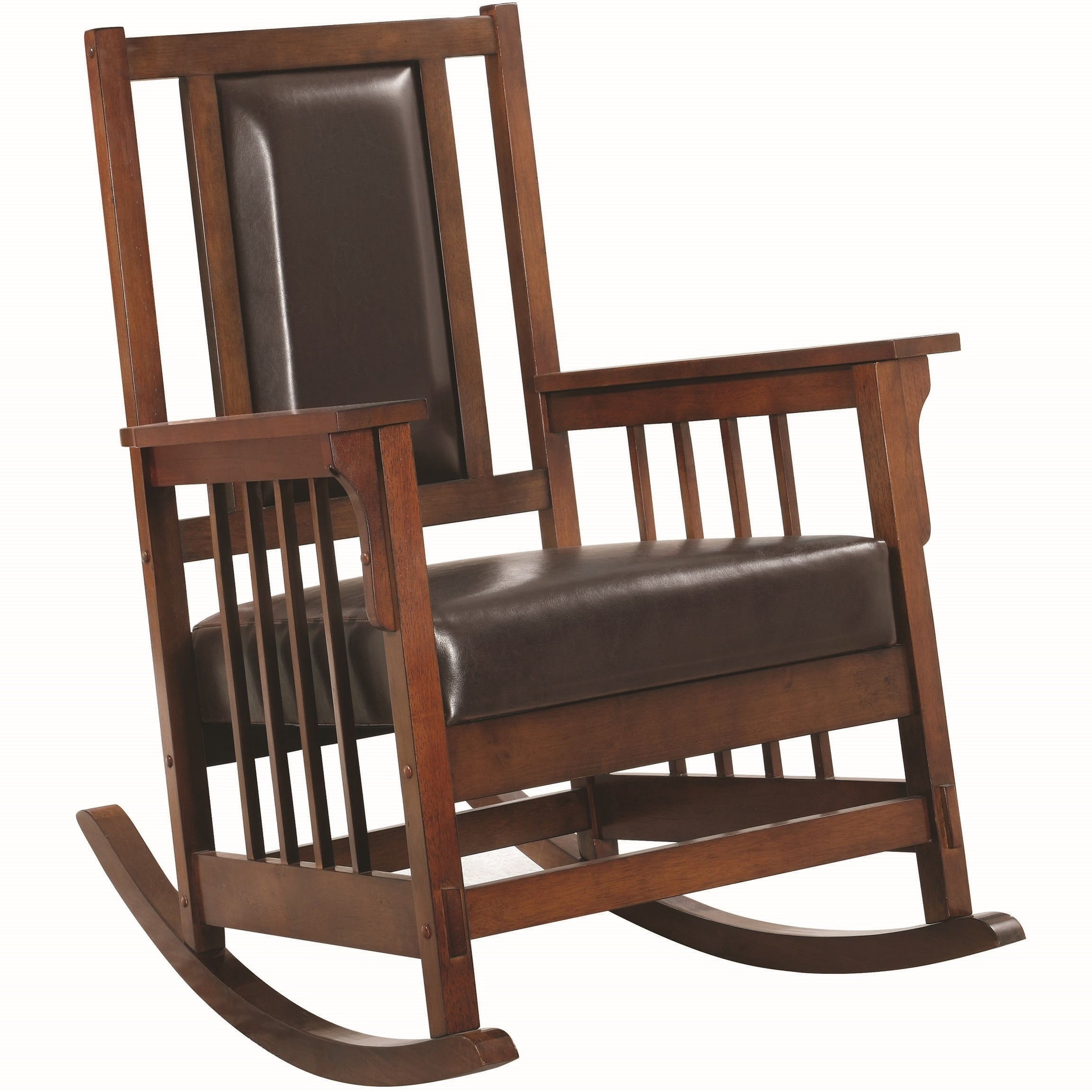 Inspiration about Mission Design Wood Rocking Chair With Brown Leather Seat Intended For Mission Design Wood Rocking Chairs With Brown Leather Seat (#2 of 20)