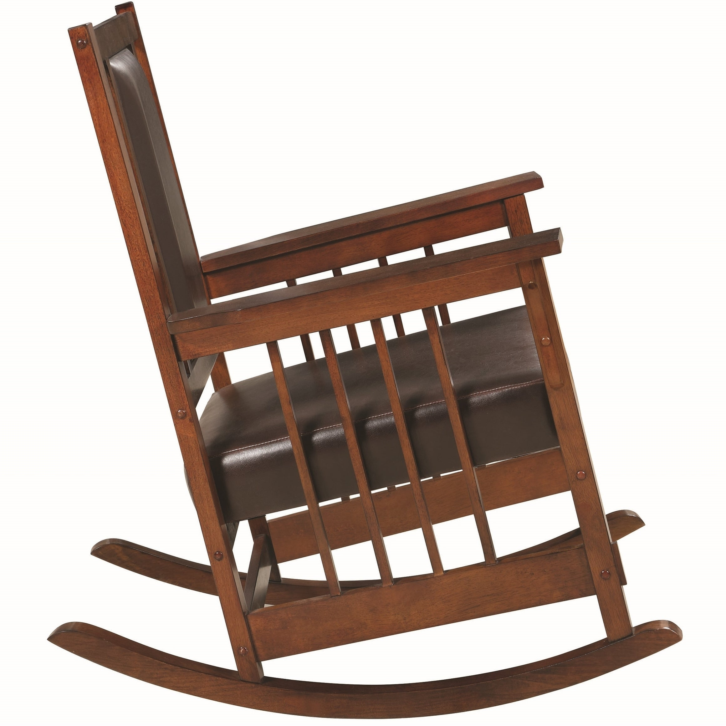 Mission Design Wood Rocking Chair With Brown Leather Seat Regarding Mission Design Wood Rocking Chairs With Brown Leather Seat (#13 of 20)