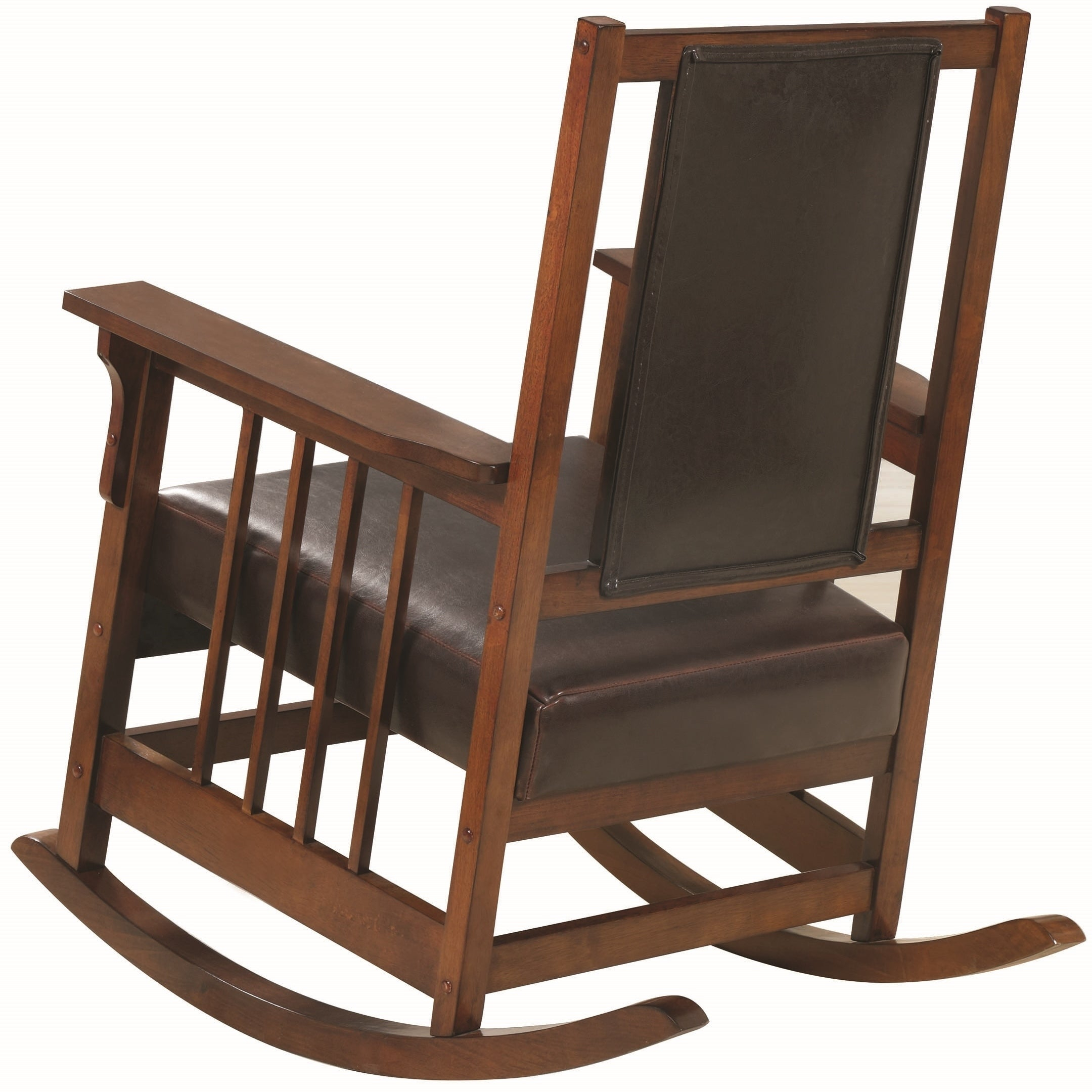 Mission Design Wood Rocking Chair With Brown Leather Seat Throughout Poppy Mission Espresso Rocking Chairs (#10 of 20)