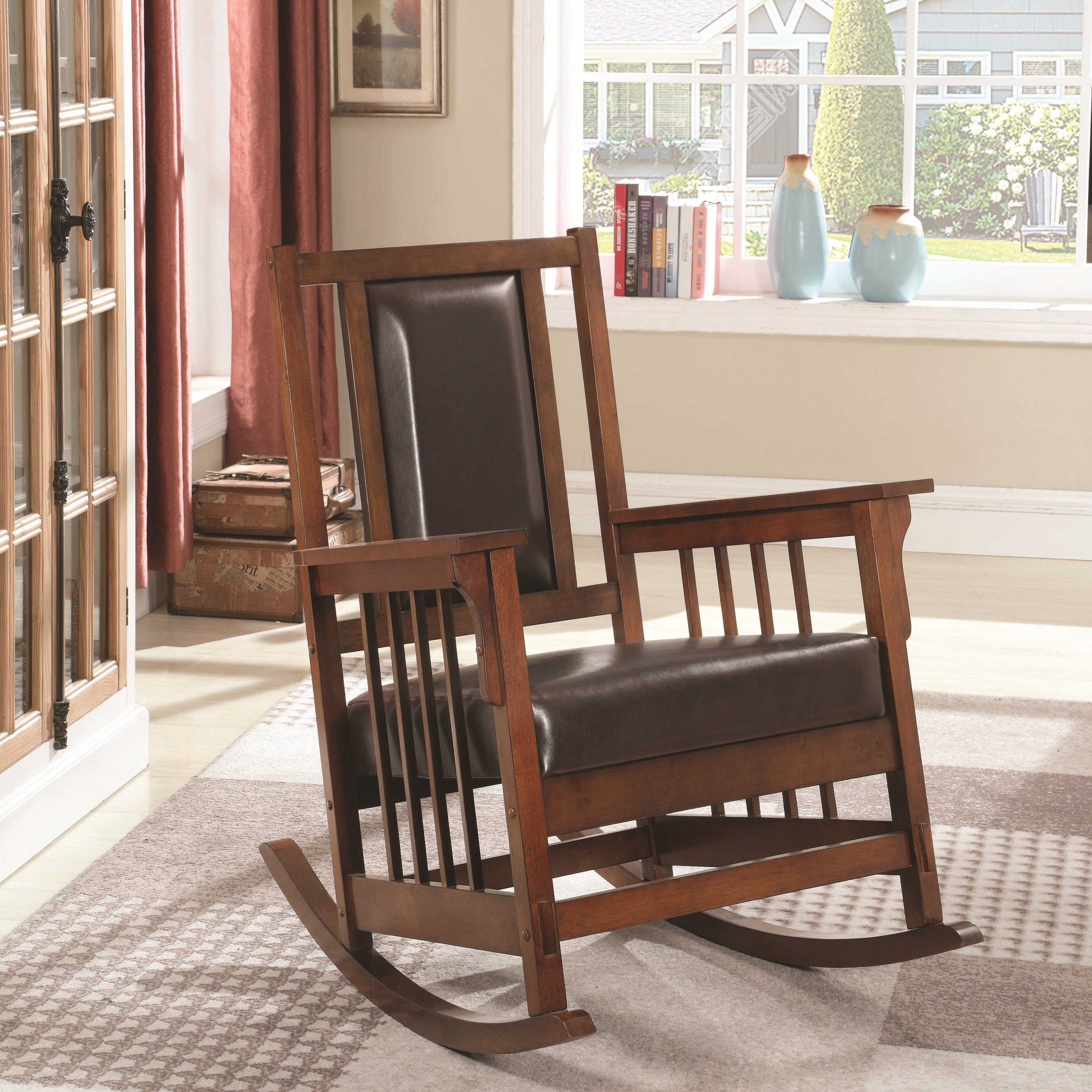 Inspiration about Mission Design Wood Rocking Chair With Brown Leather Seat Within Mission Design Wood Rocking Chairs With Brown Leather Seat (#1 of 20)