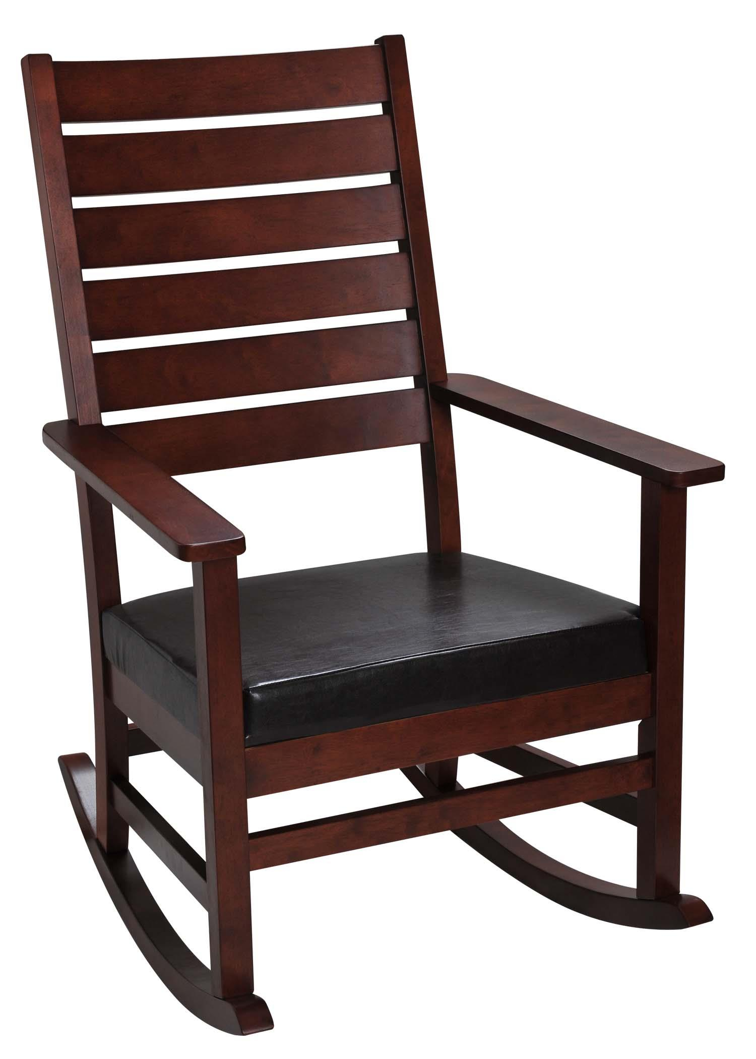 Mission Style Adult Rocking Chair With Upholstered Seat, Cherry With Regard To Colonial Cherry Finish Rocking Chairs (#16 of 20)
