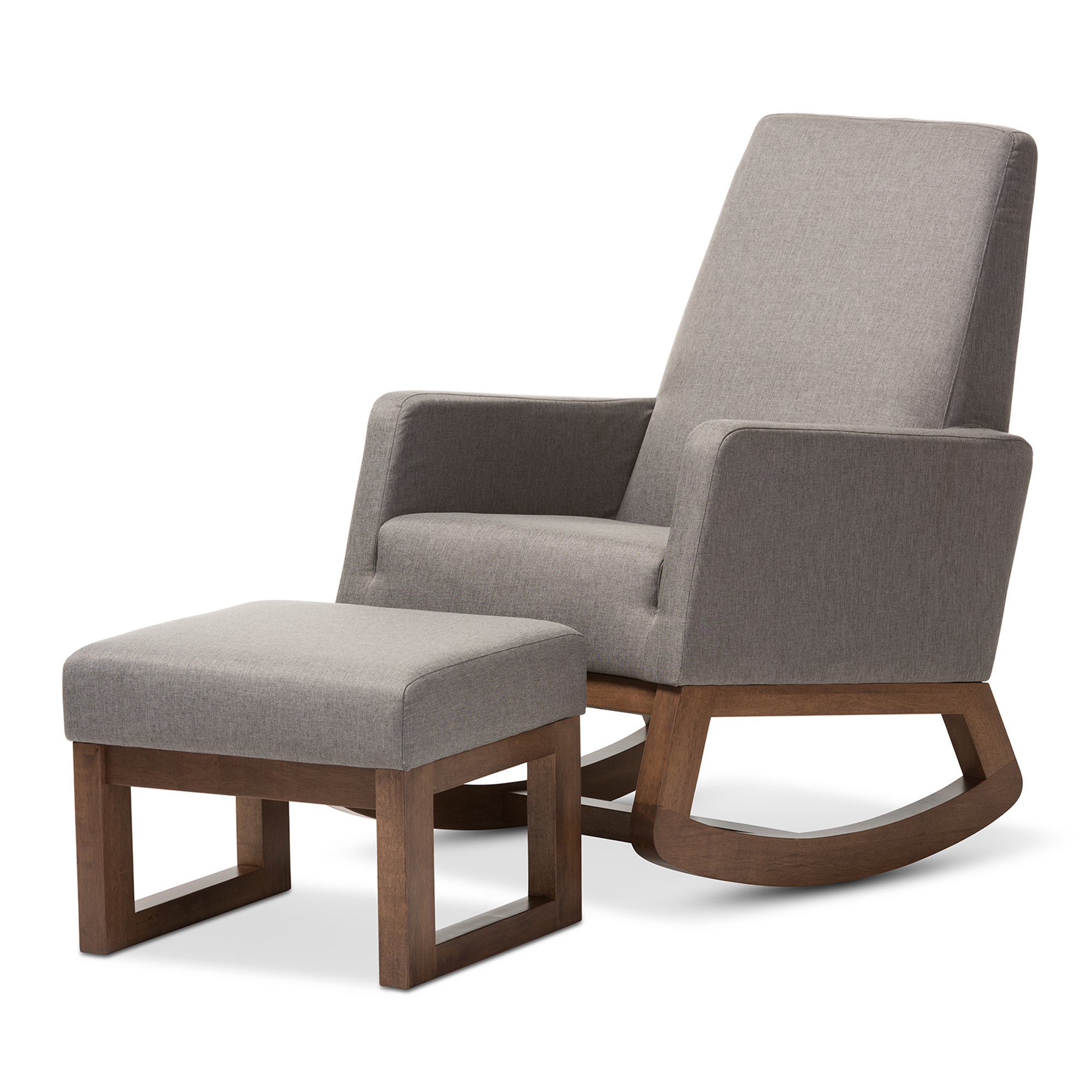 Inspiration about Modern & Contemporary Upholstered Rocking Chairs | Allmodern In Rocking Chairs In Linen Fabric With Medium Espresso Base (#15 of 20)