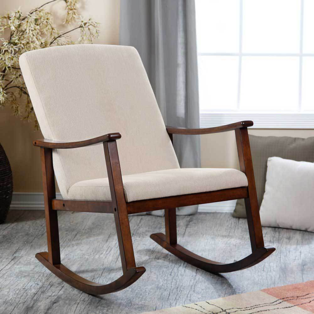 Modern Design Wooden Rocking Chair With Thick Seat And Baby Inside Wooden Baby Nursery Rocking Chairs (#13 of 20)