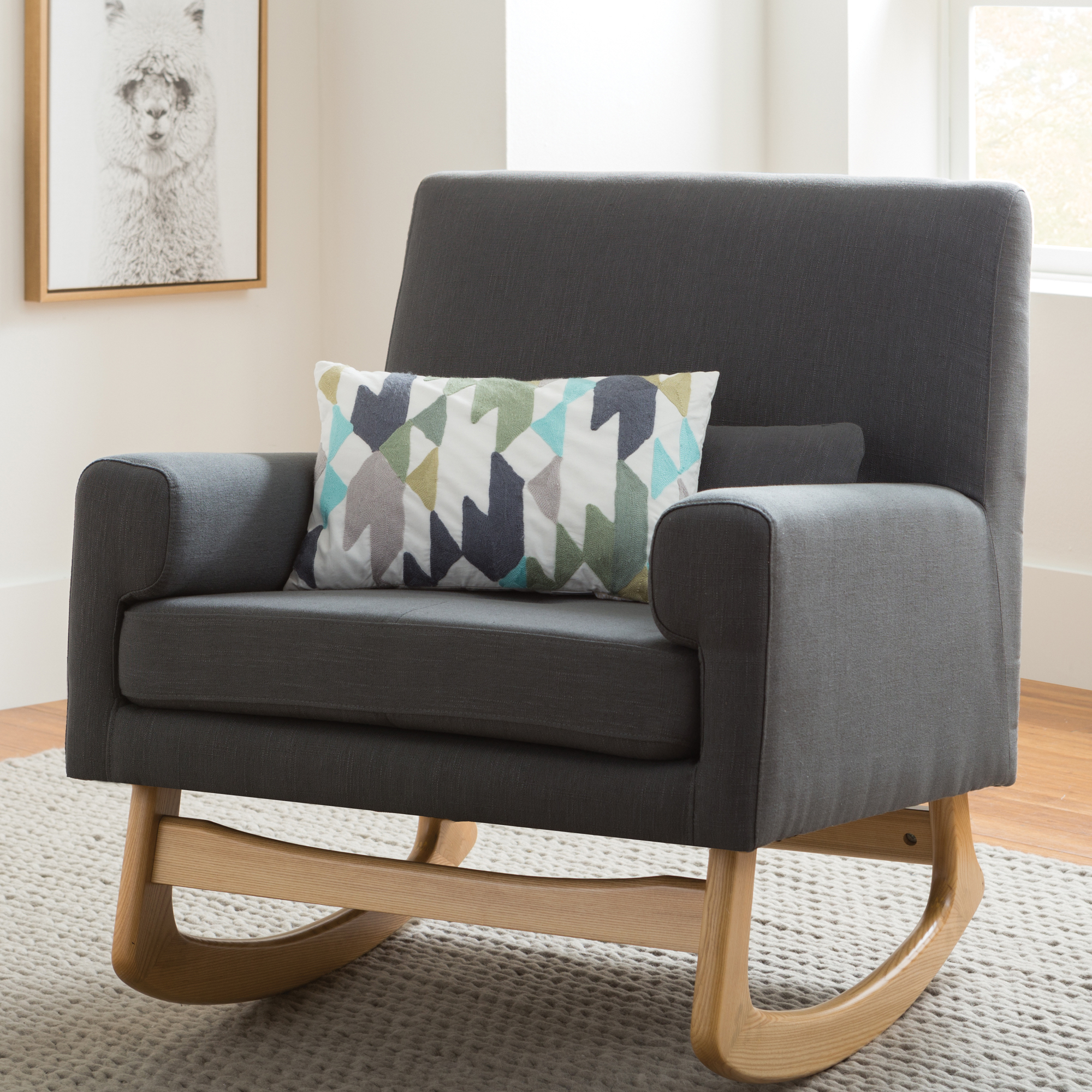Inspiration about Modern Gliders + Rocking Chairs | Allmodern Inside Rocking Chairs In Linen Fabric With Brushed Finish Base (#14 of 20)
