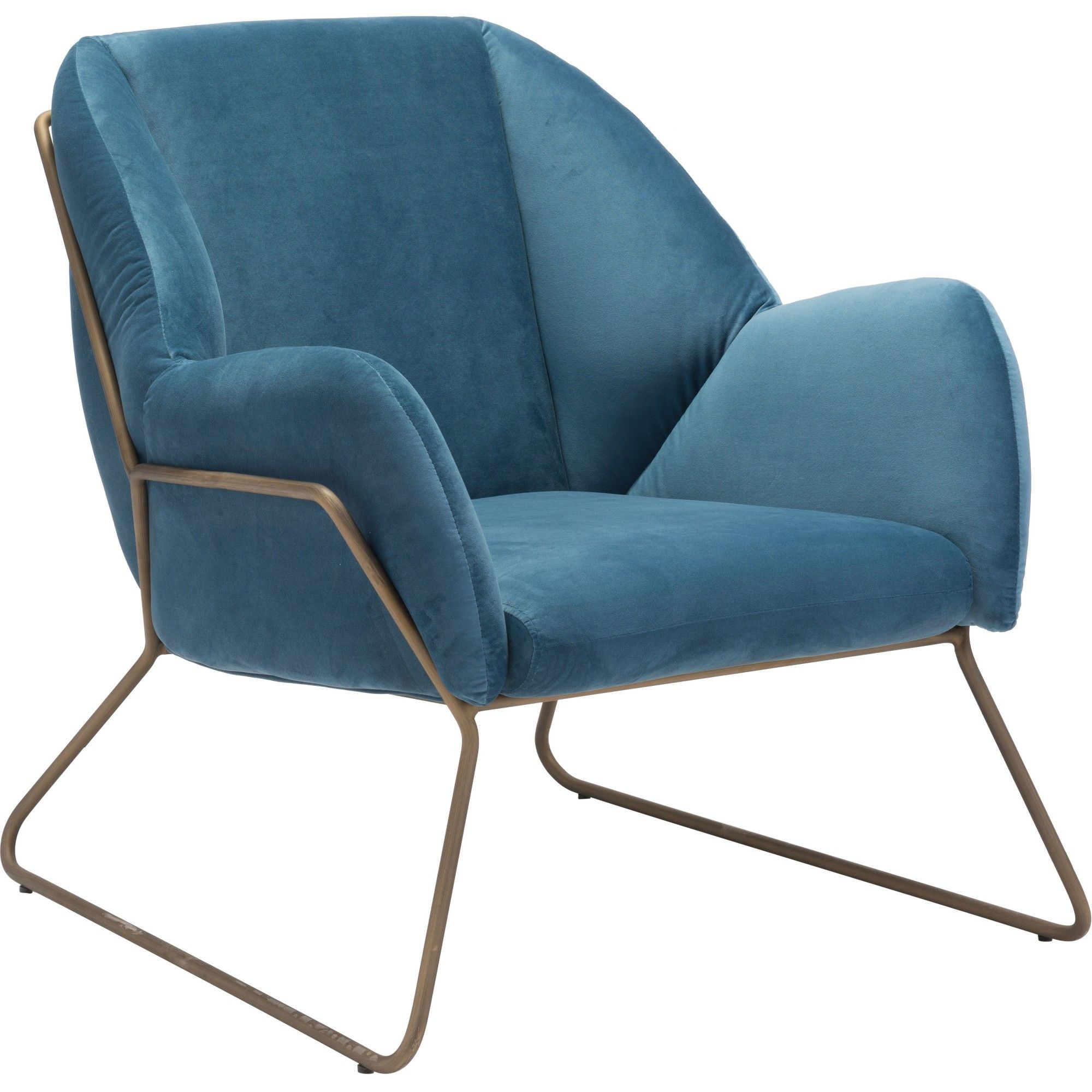Inspiration about Modern Velvet Arm Chair Blue – Zm Home In 2019 | Products With Regard To Modern Blue Fabric Rocking Arm Chairs (#3 of 20)