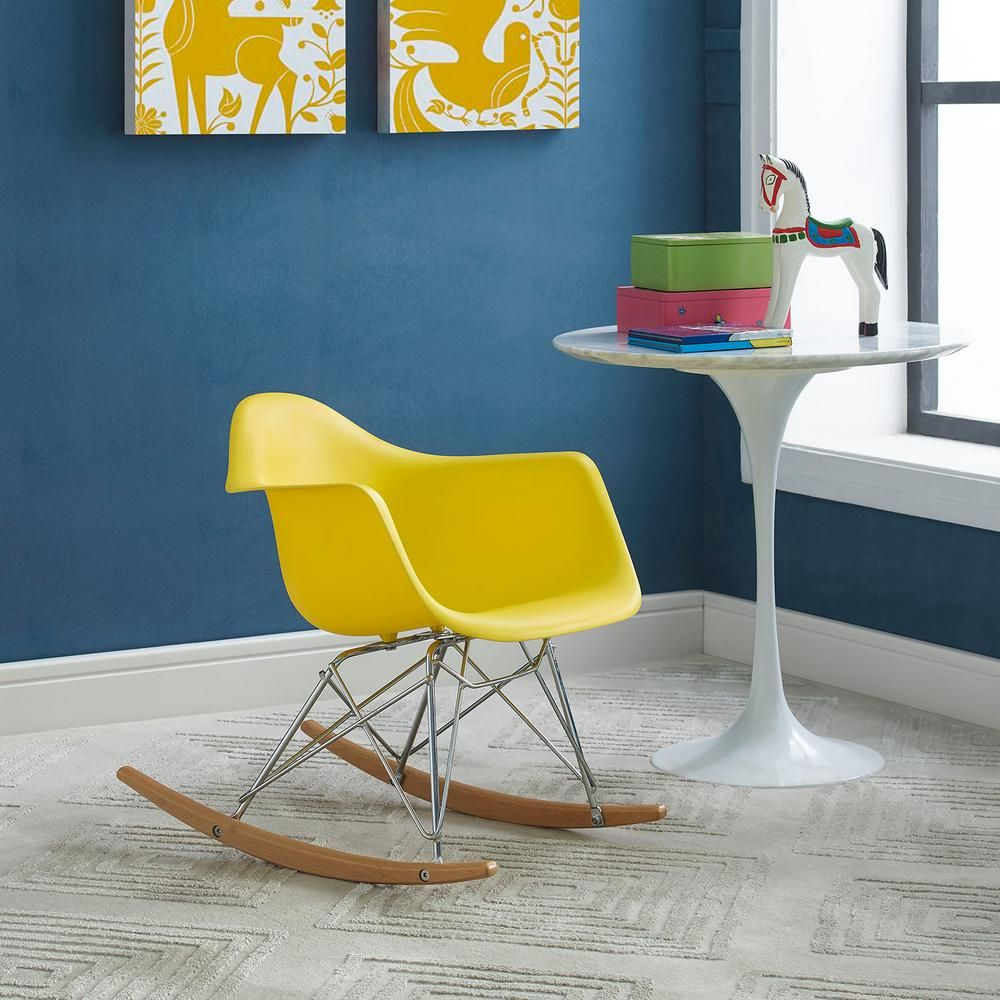 Modway Rocker Yellow Kids Chair | Products | Chair, Rocking With Poly And Bark Teal Rocking Chairs Lounge Chairs (View 6 of 20)