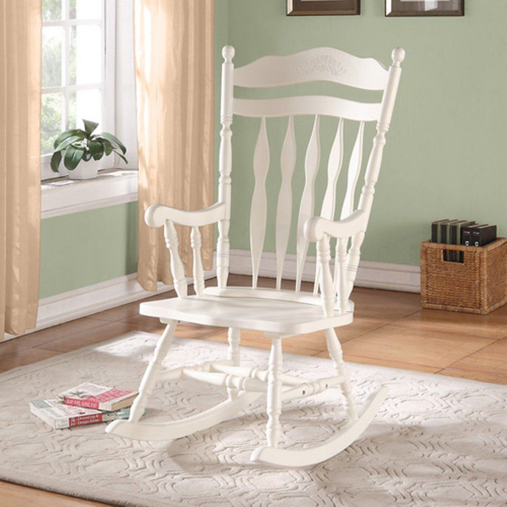 Inspiration about Monarch Antique White Embossed Back Solid Wood Rocking Chair Inside Antique White Wooden Rocking Chairs (#2 of 20)