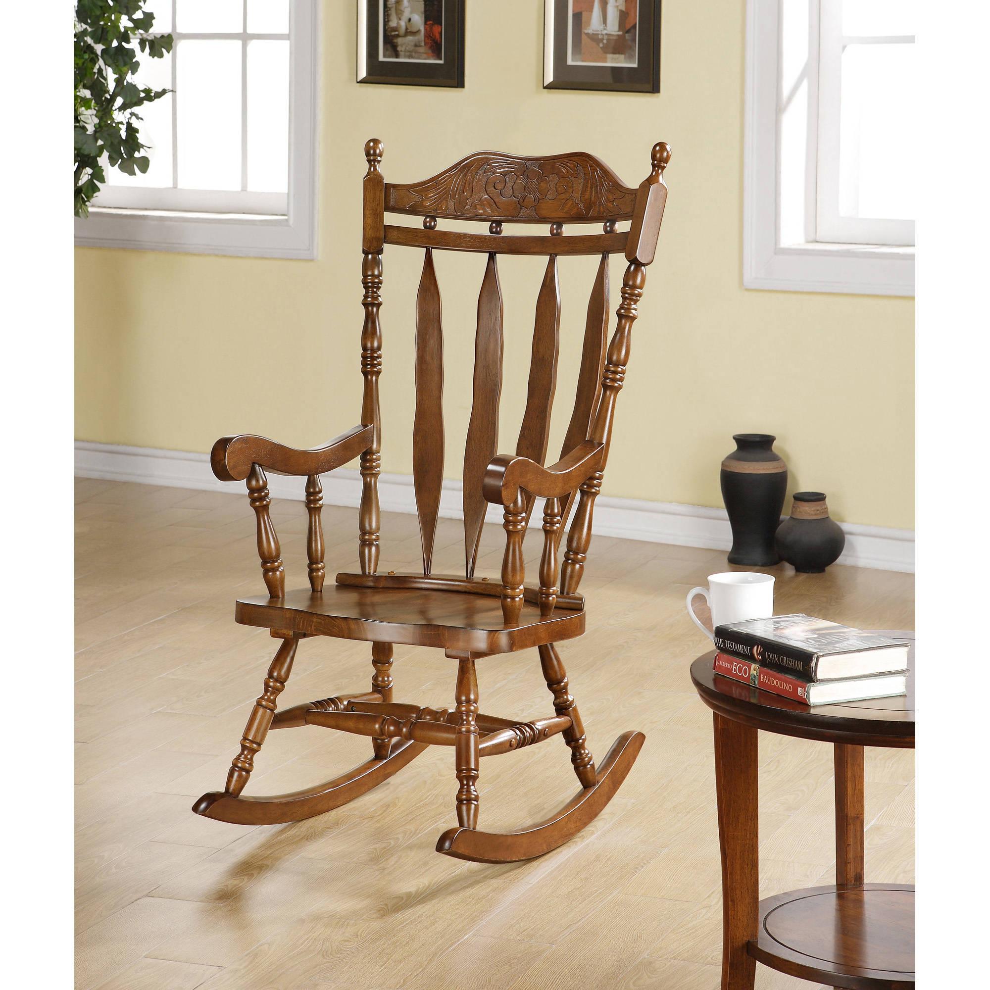 Inspiration about Monarch Dark Walnut 45h In. Solid Wood Rocking Chair With Dark Walnut Brown Wooden Rocking Chairs (#4 of 20)