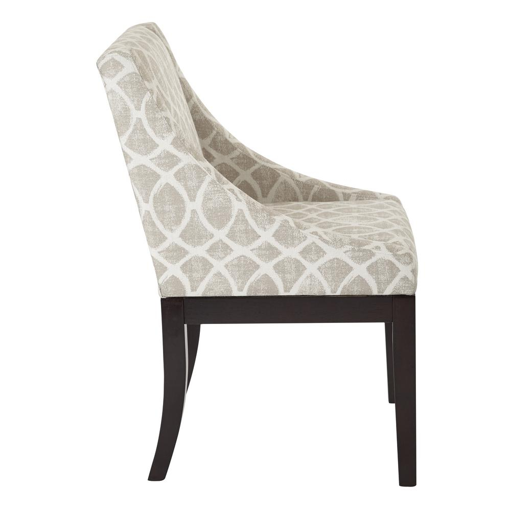 Inspiration about Monarch Easy Care Wingback Chair In Mist Geo Sand Fabric With Solid Wood  Legs Intended For Poly And Bark Patchwork Rocking Chairs (#13 of 20)