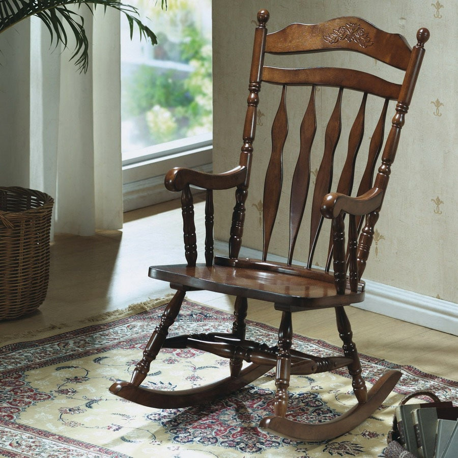 Monarch Specialties Dark Walnut Wood Slat Seat Outdoor Intended For Dark Walnut Rocking Chairs (View 11 of 20)