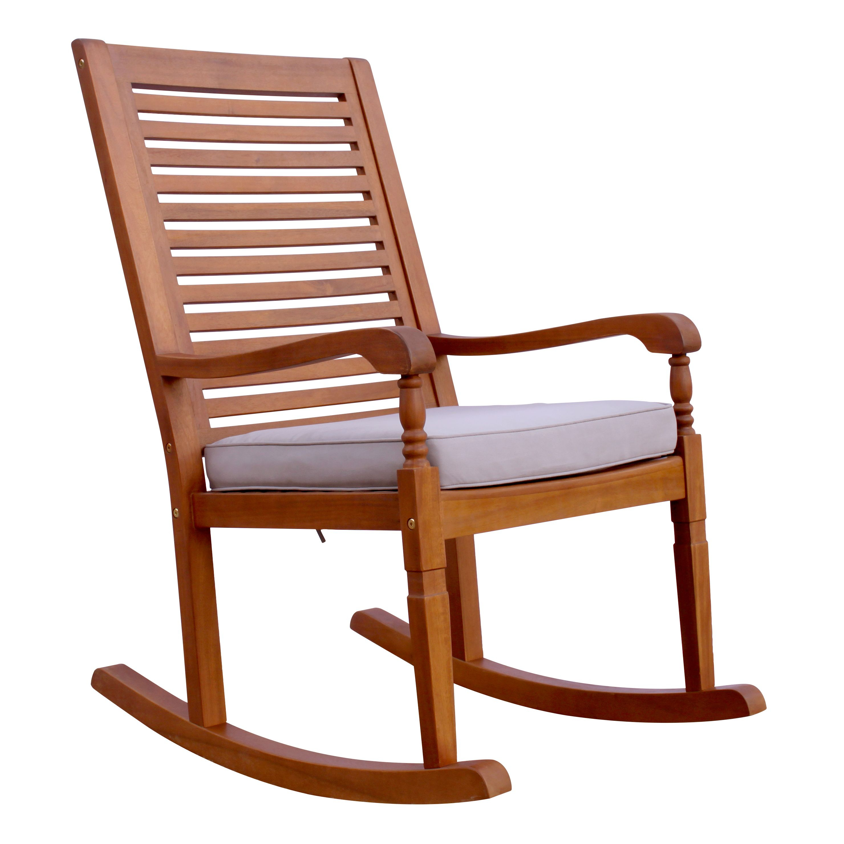Nantucket Rocking Chair, Natural Stain With Grey Cushion For Traditional Indoor Acacia Wood Rocking Chairs With Cushions (#14 of 20)