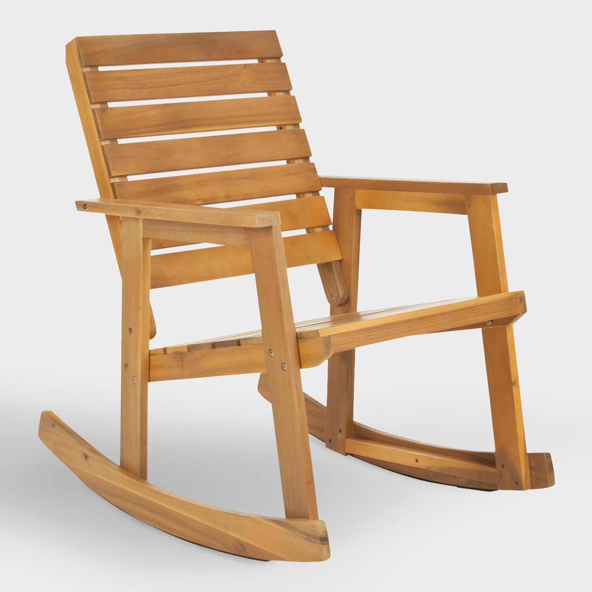Natural Brown Wood Outdoor Patio Rocking Chairworld Regarding Natural Brown Wood Folding Rocking Chairs (#17 of 20)