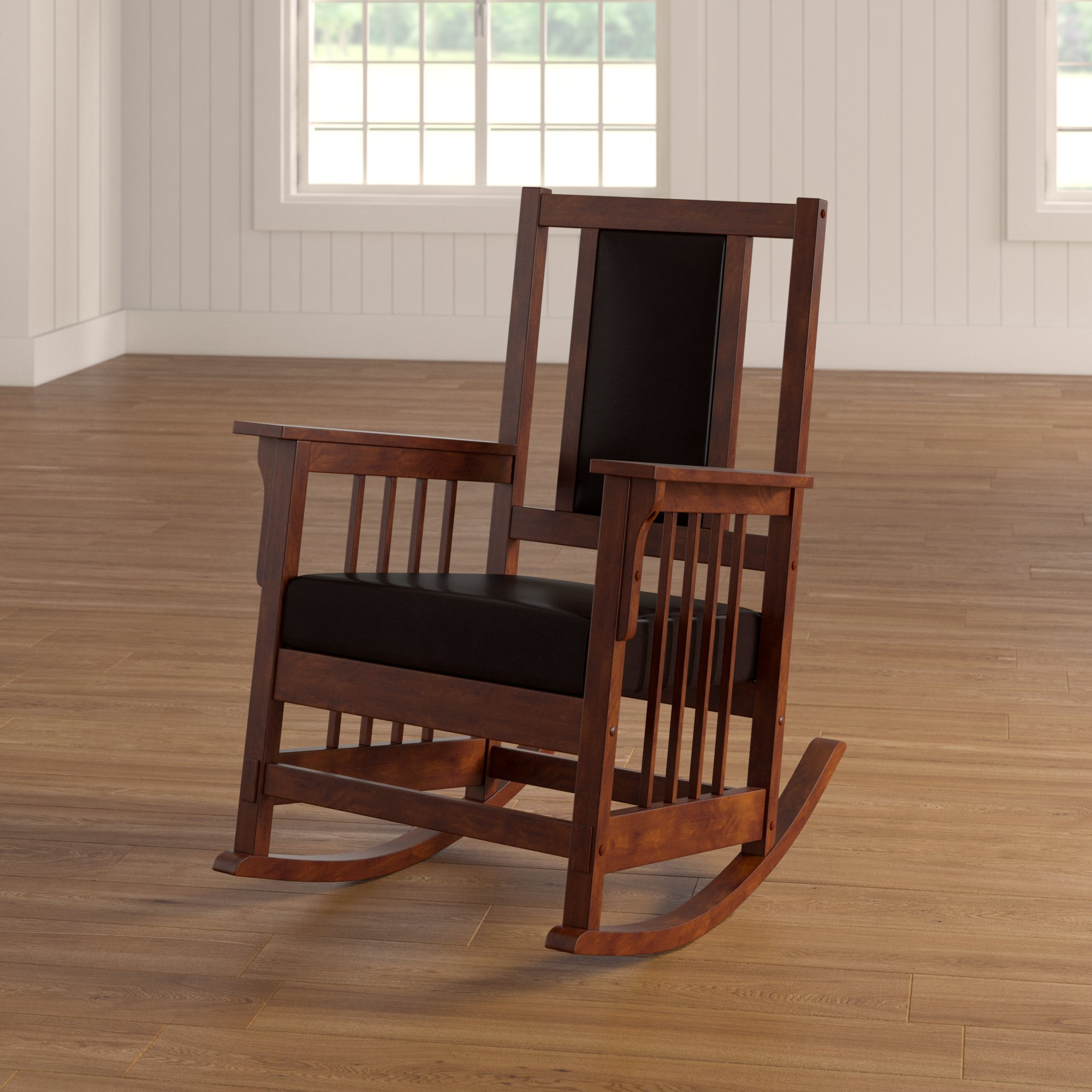 Netta Rocking Chair With Mission Design Wood Rocking Chairs With Brown Leather Seat (#18 of 20)