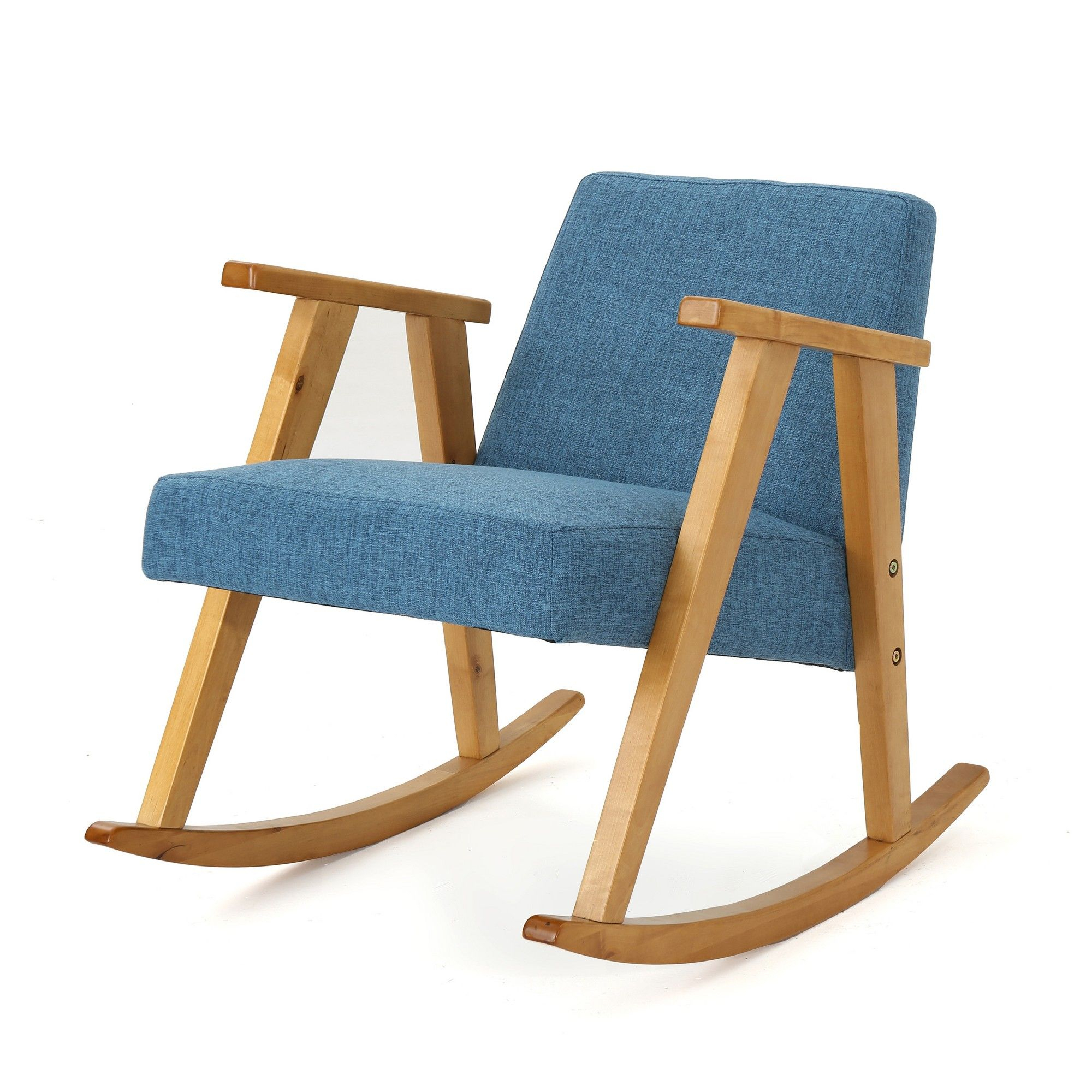 Nevies Mid Century Modern Rocking Chair Muted Blue For Nevies Mid Century Modern Fabric Rocking Chairs (#18 of 20)