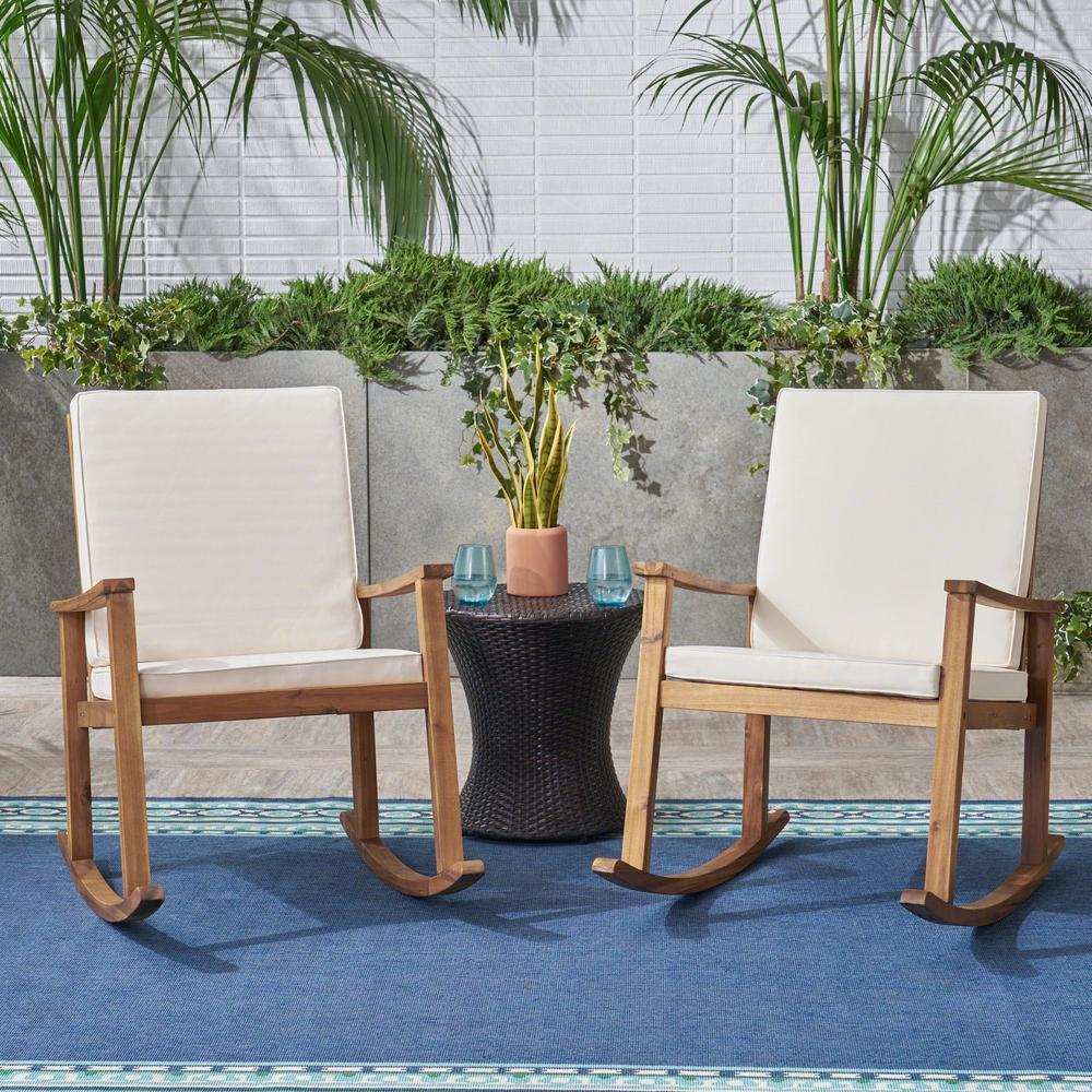 Noble House Candel Teak Brown Wood Outdoor Rocking Chair With Cream Cushions (2 Pack) Within Rocking Chairs, Cream And Brown (View 5 of 20)