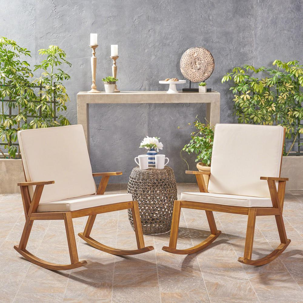 Noble House Champlain Teak Brown Wood Outdoor Rocking Chairs With Cream  Cushions (2 Pack) Regarding Rocking Chairs, Cream And Brown (#16 of 20)