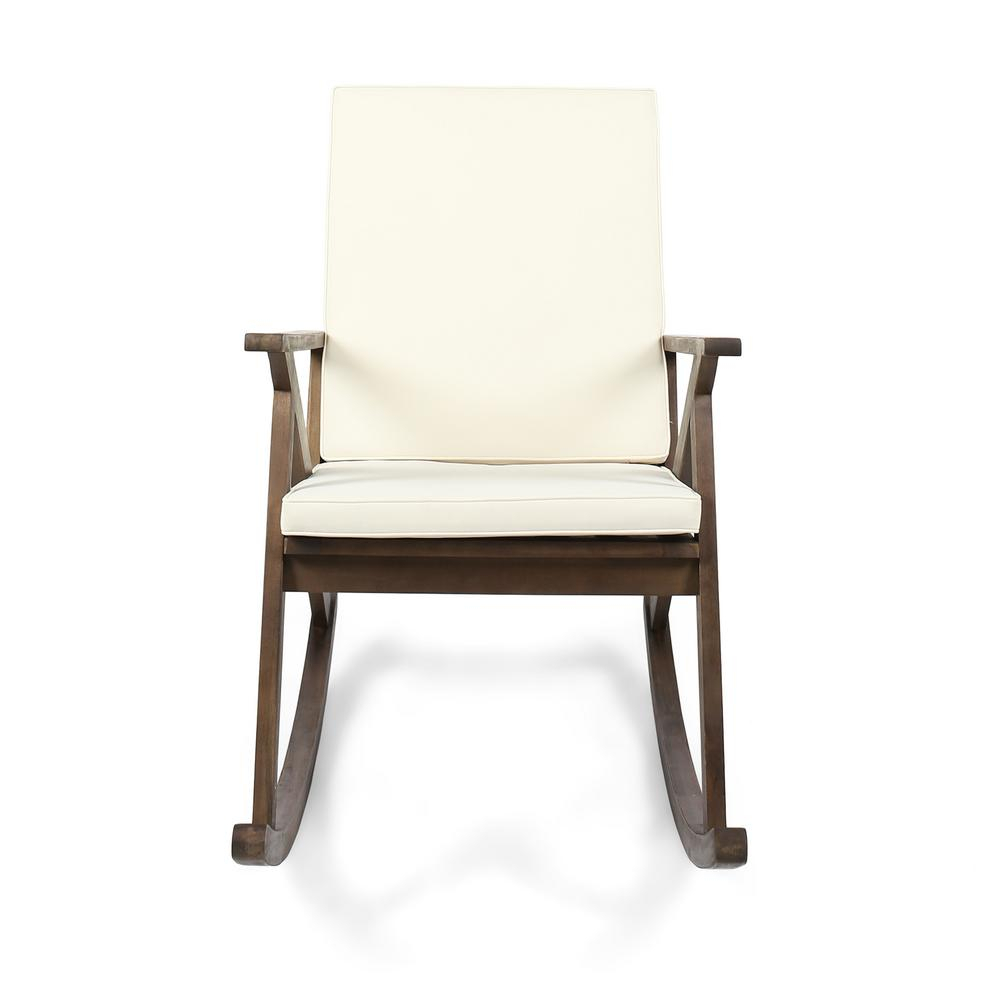Noble House Gus Dark Brown Wood Outdoor Rocking Chair With Cream Cushion Within Rocking Chairs, Cream And Brown (#17 of 20)
