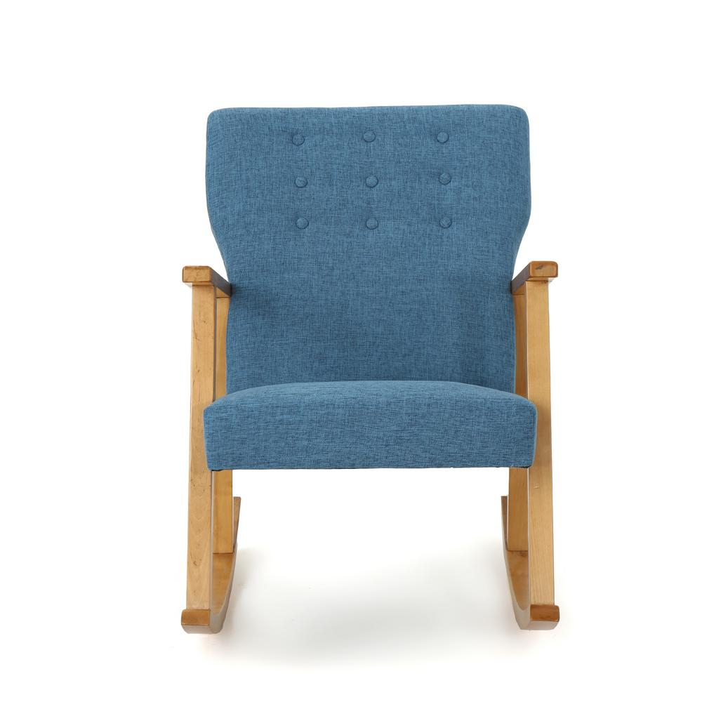 Noble House Harvey Mid Century Modern Button Back Muted Blue For Mid Century Modern Fabric Rocking Chairs (View 16 of 20)