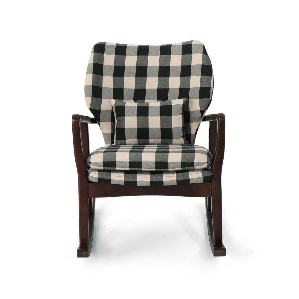 Noble House Irvin Mid Century Modern Black Checkerboard Inside Mid Century Birch Rocking Chairs (#15 of 20)