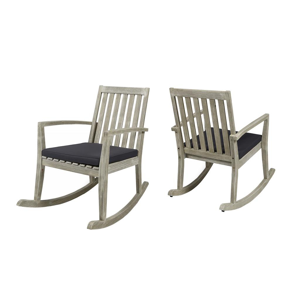 Noble House Montrose Light Grey Wood Outdoor Rocking Chairs With Dark Grey  Cushions (2 Pack) In Poly And Bark Blue Rocking Chairs Lounge Chairs (#8 of 20)
