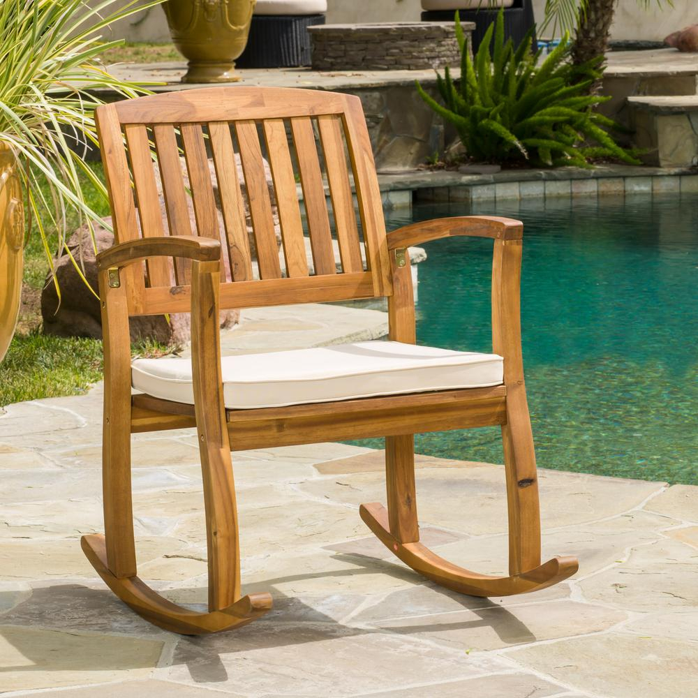 Noble House Selma Teak Finish Wood Outdoor Rocking Chair Inside Traditional Indoor Acacia Wood Rocking Chairs With Cushions (#15 of 20)