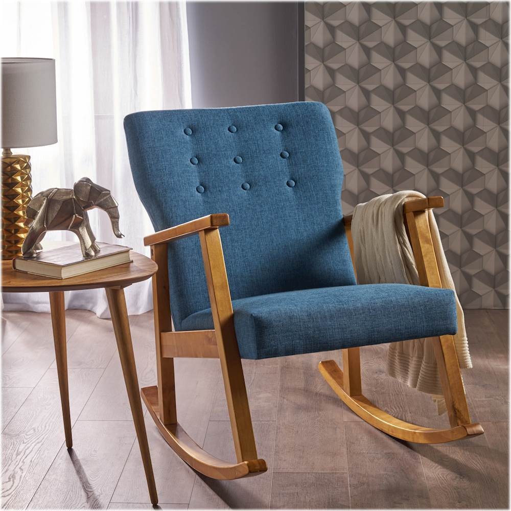 Noble House – Winfield Rocking Chair – Muted Blue/light Regarding Harvey Mid Century Modern Fabric Rocking Chairs (View 11 of 20)