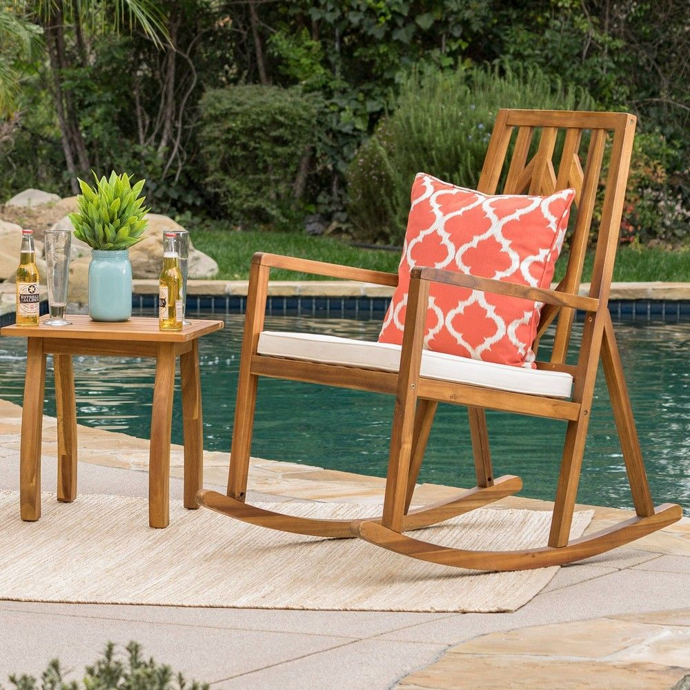 Nuna 2Pc Acacia Wood Patio Rocking Chair Set – Teak/cream Intended For Rocking Chairs, Cream And Brown (View 16 of 20)