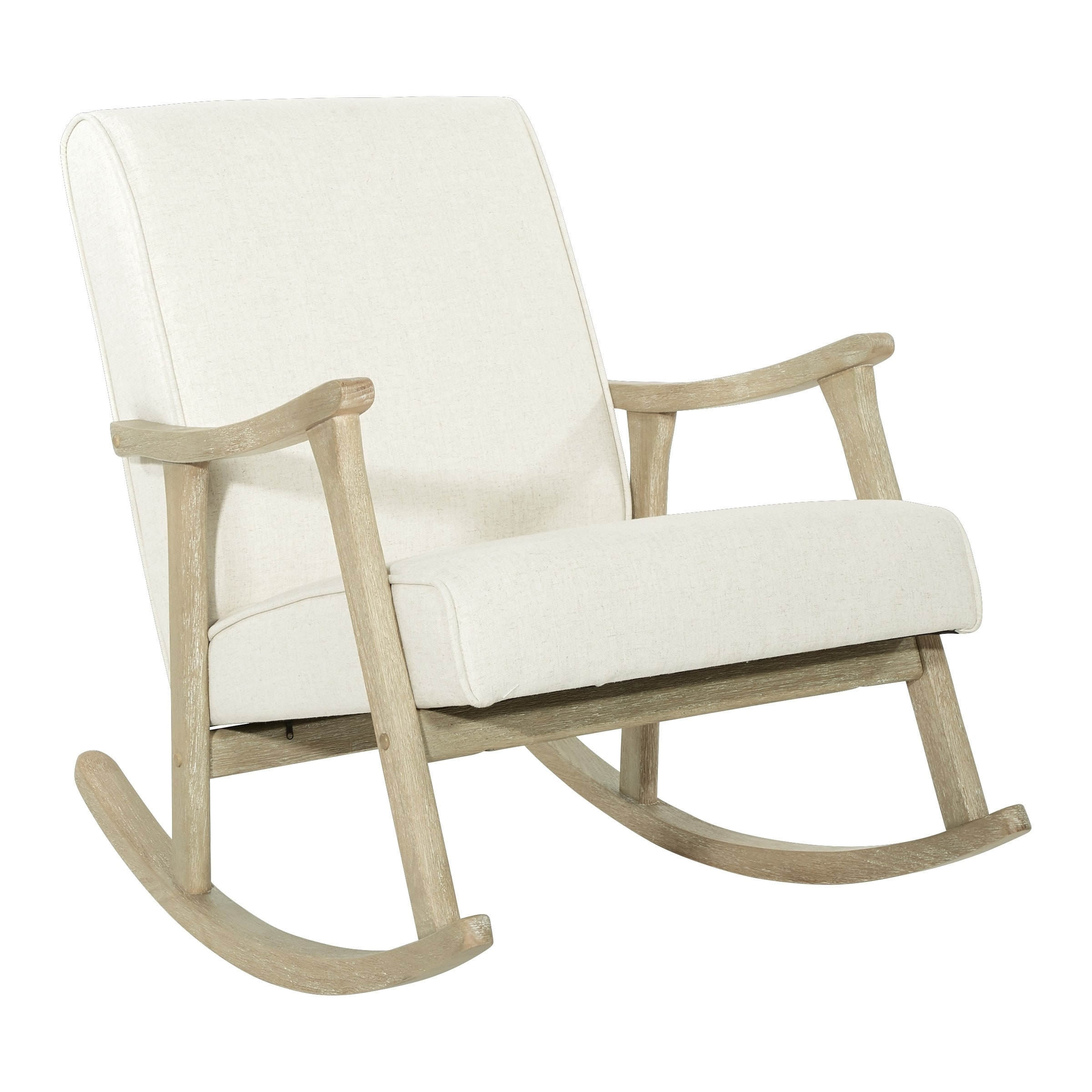 Popular Photo of Rocking Chairs In Linen Fabric With Brushed Finish Base