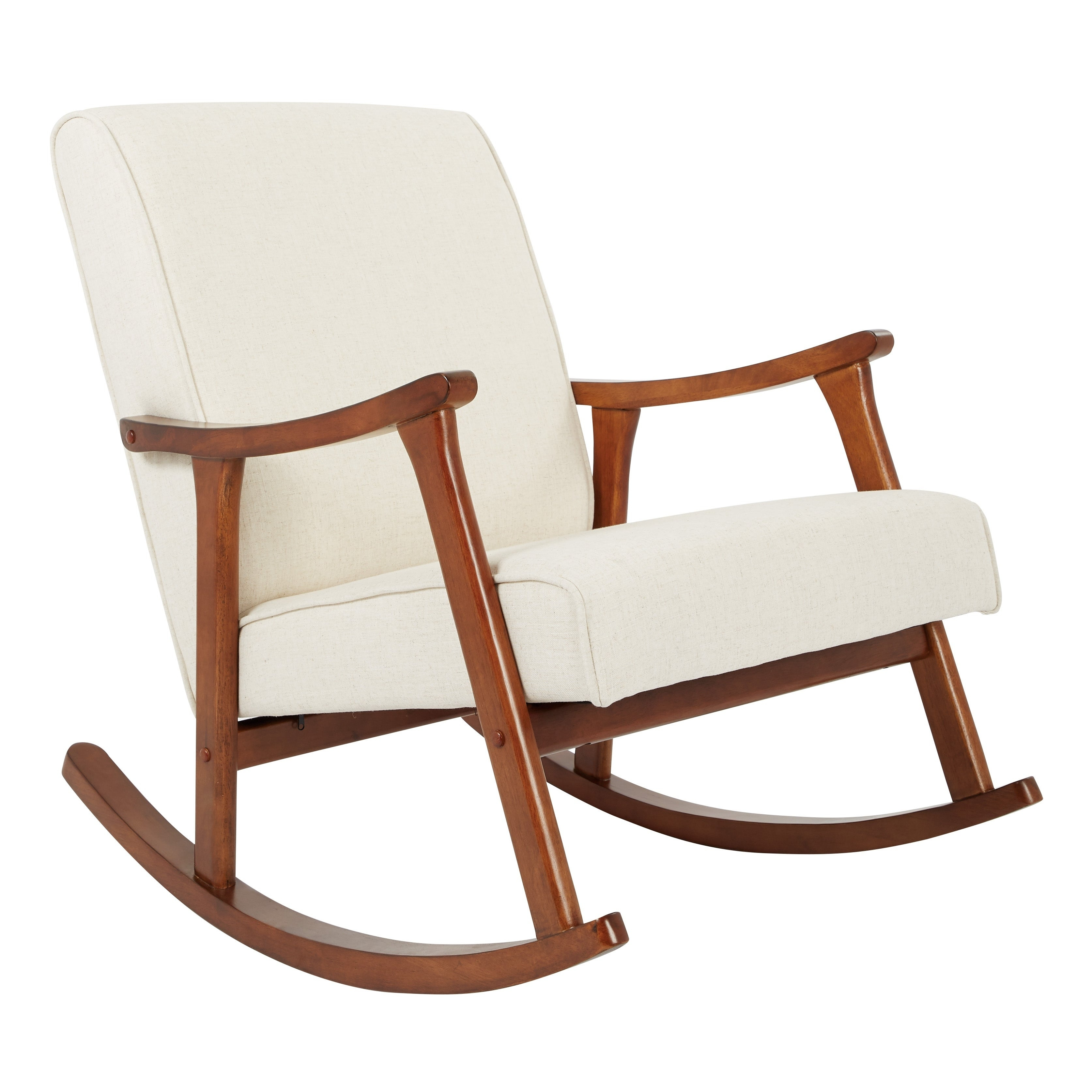 Osp Home Furnishings Gainsborough Rocker In Linen Fabric With Medium  Espresso Base Intended For Espresso Brown Rocking Chairs (#13 of 20)