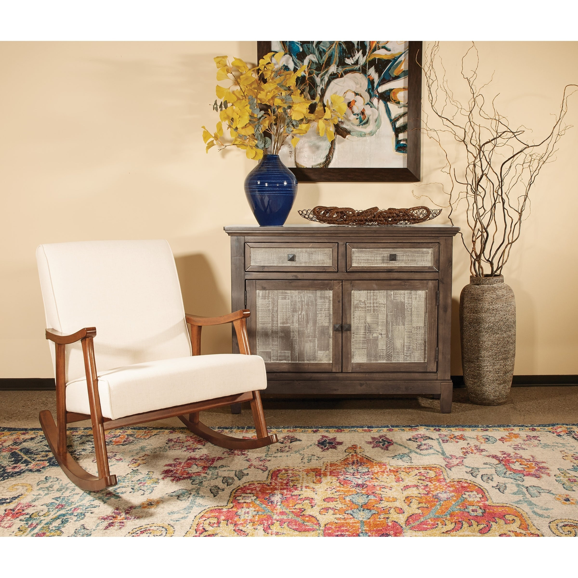 Osp Home Furnishings Gainsborough Rocker In Linen Fabric With Medium  Espresso Base Throughout Rocking Chairs In Linen Fabric With Medium Espresso Base (#13 of 20)