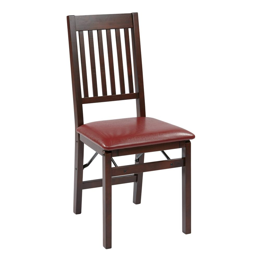 Osp Home Furnishings Red Faux Leather Seat Wood Frame Folding Chair (Set Of  2) With Regard To Mission Design Wood Rocking Chairs With Brown Leather Seat (#19 of 20)