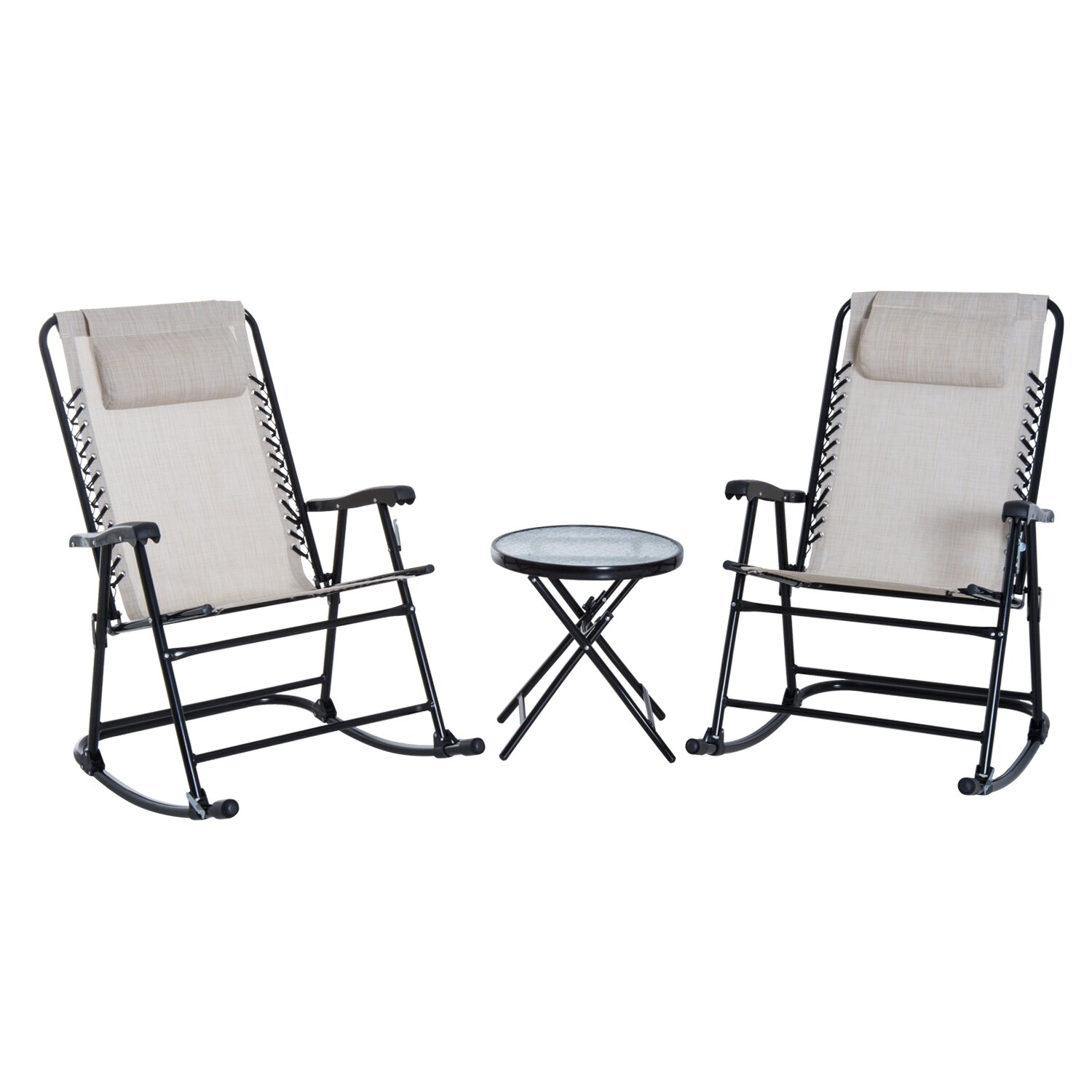 Outsunny 3 Piece Outdoor Rocking Chair Patio Table Seating Set Folding –  Cream White With Rocking Chairs In Cream Fabric And White (#15 of 20)