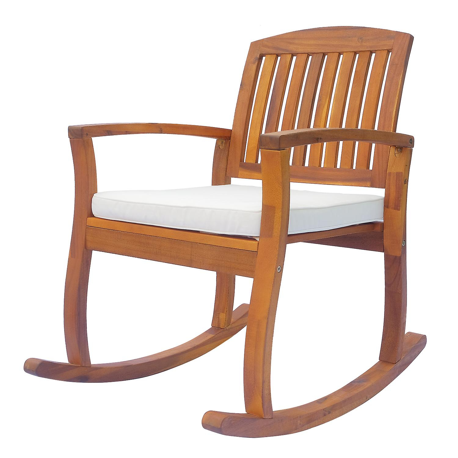 Outsunny Acacia Hardwood Rocking Chair Deck Indoor Outdoor Porch Garden  Slat Cushion Throughout Indoor / Outdoor Porch Slat Rocking Chairs (#15 of 20)